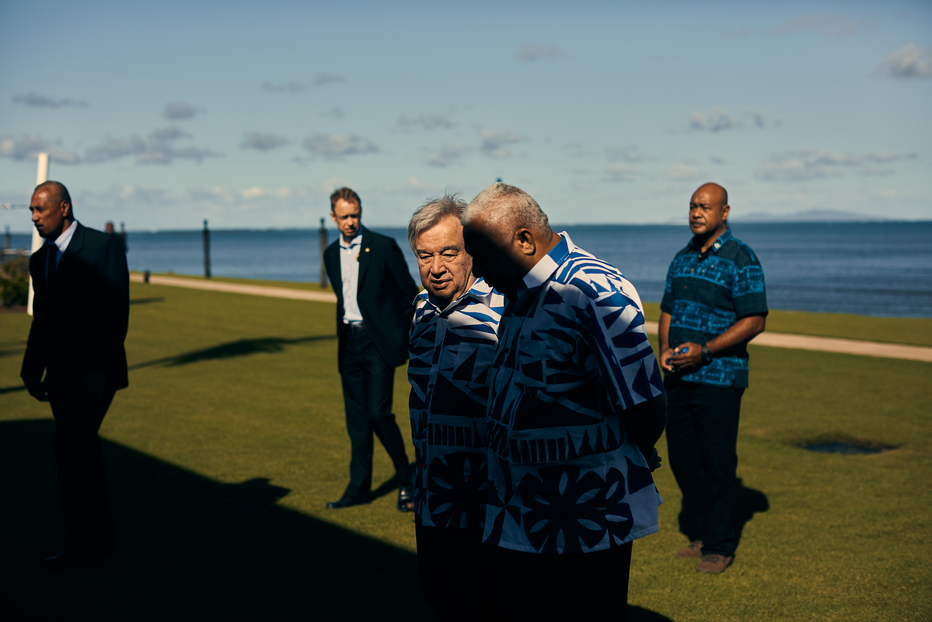 U.N. chief António Guterres chats with Fiji Prime Minister Frank Bainimarama in May.