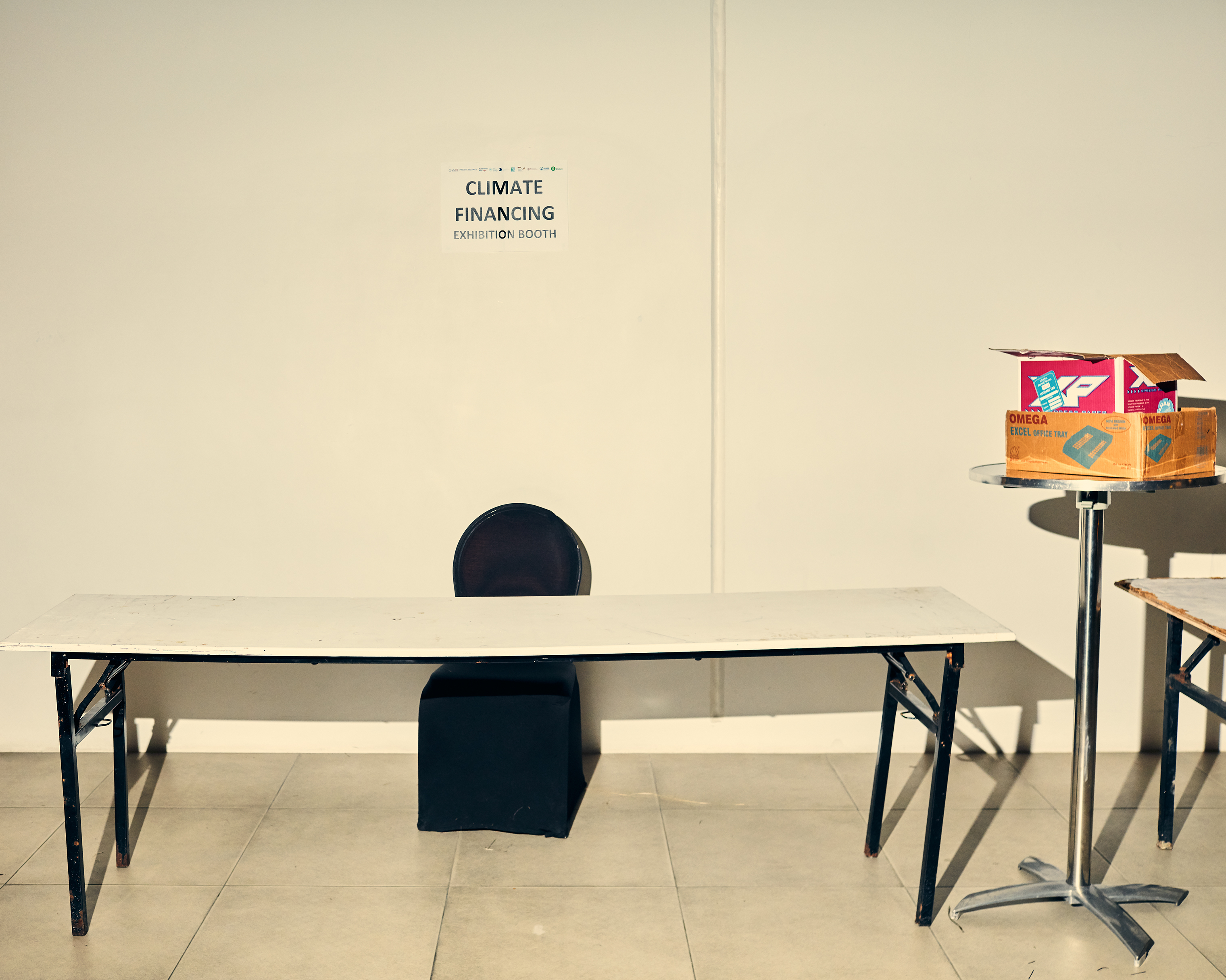 An empty information kiosk after the conference with Pacific leaders on climate change.