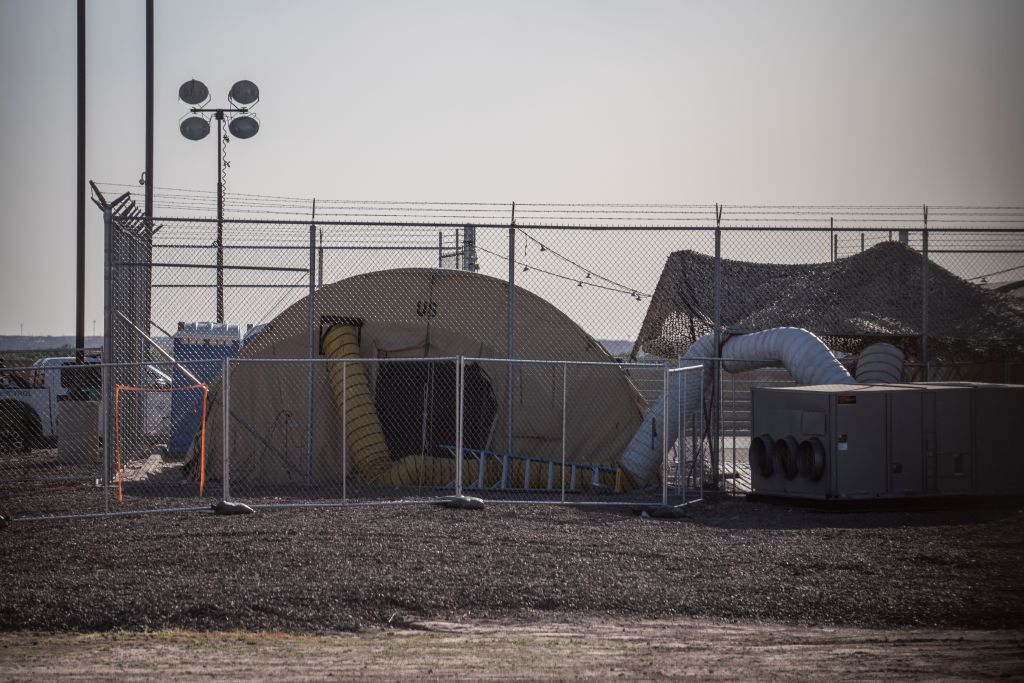 A temporary facility set up to hold migrants is pictured at a United States Border Patrol Station in Clint, Texas, on June 25, 2019.