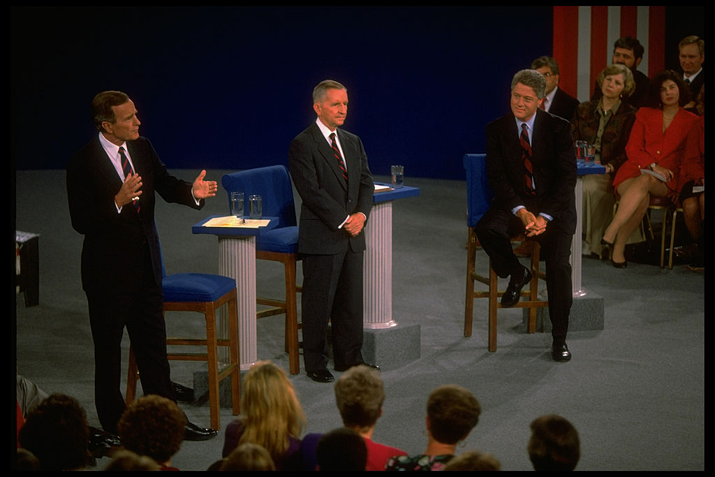 Pres. Bush, Independent cand. TX magnate Ross Perot & Dem. contender AR Gov. Bill Clinton during 2nd presidential debate.