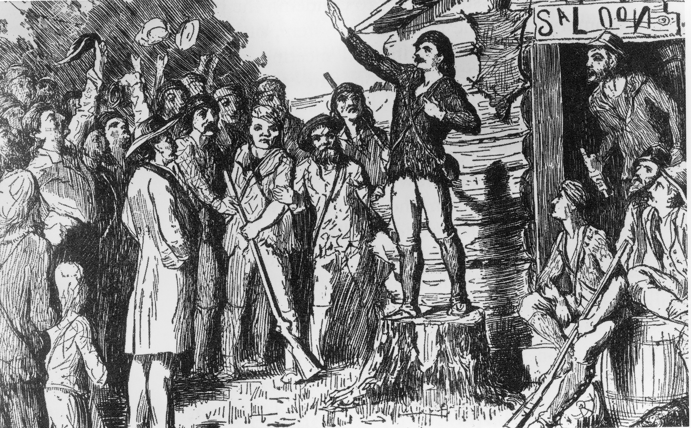 Illustration of Davy Crockett campaigning for the House of Representatives to a group of people, circa 1800s.