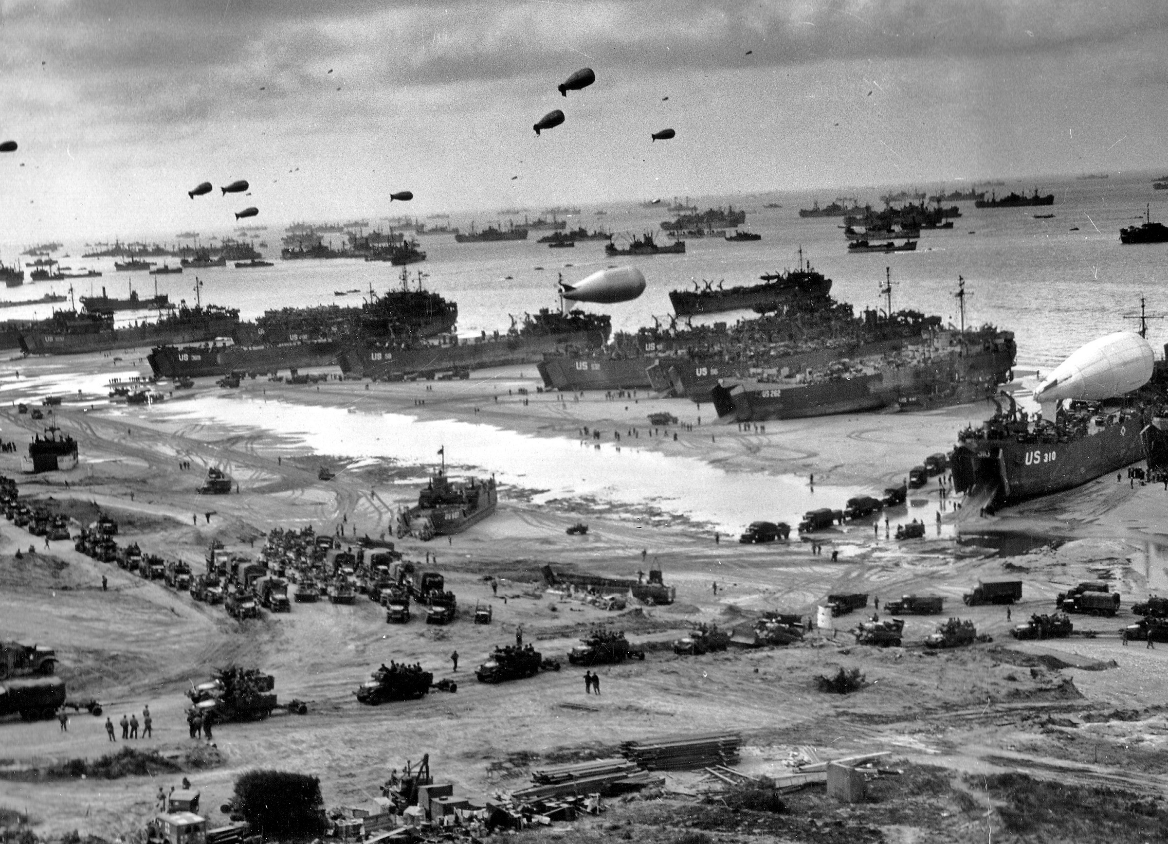 D-Day landing craft, boats and seagoing and infantry vessels.