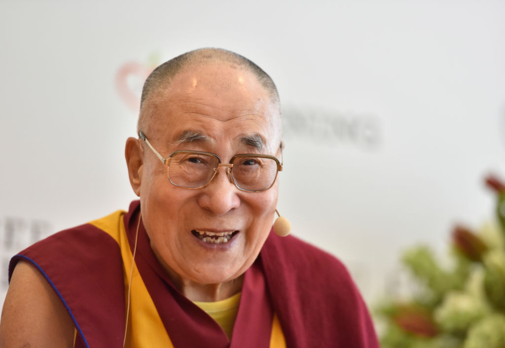 Tibetan spiritual leader Dalai Lama speaks during a press conference in New Delhi, India, on April 4, 2019.