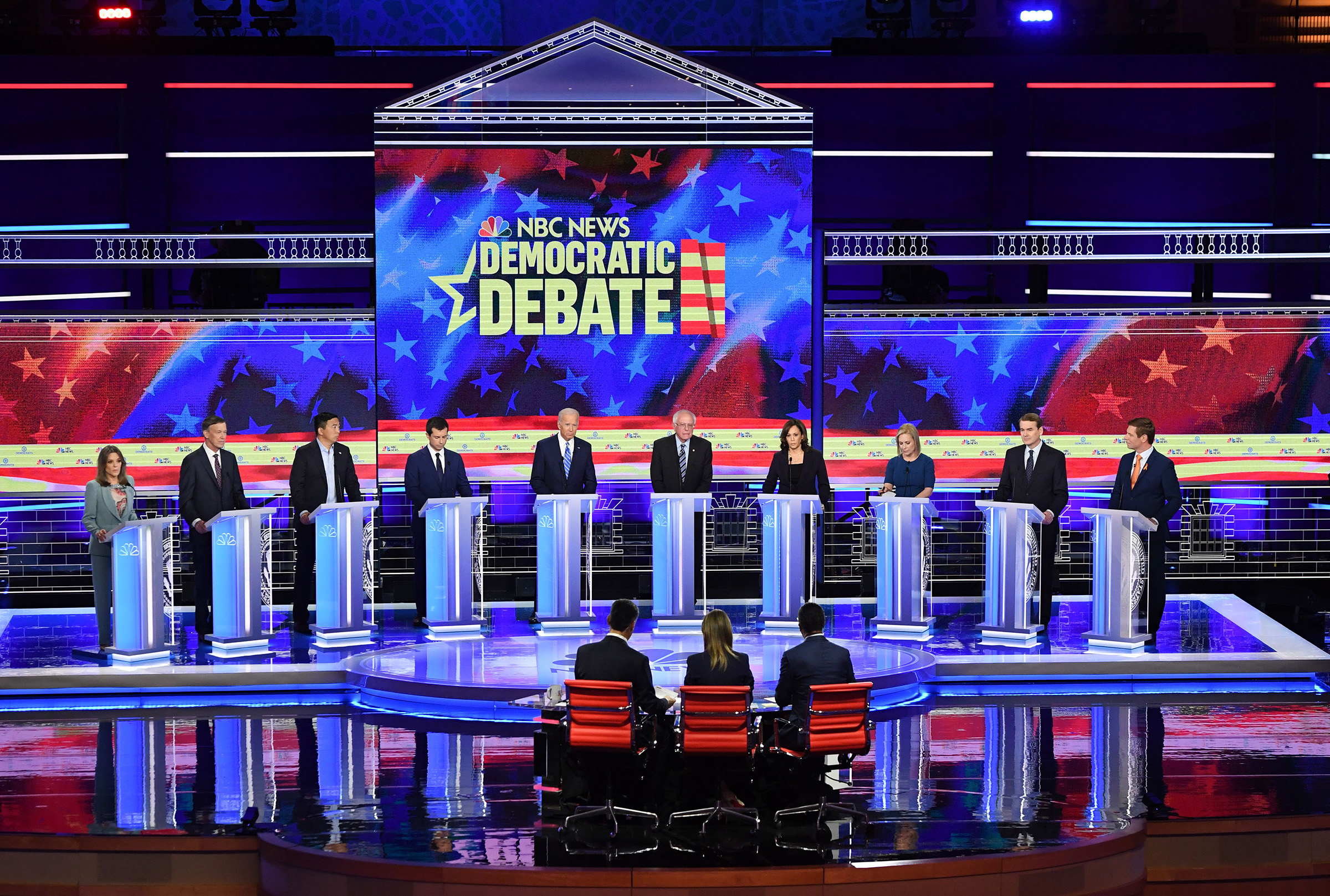 Democratic presidential hopefuls participate in the second Democratic primary debate of the 2020 presidential campaign season hosted by NBC News at the Adrienne Arsht Center for the Performing Arts in Miami, Florida, June 27, 2019.