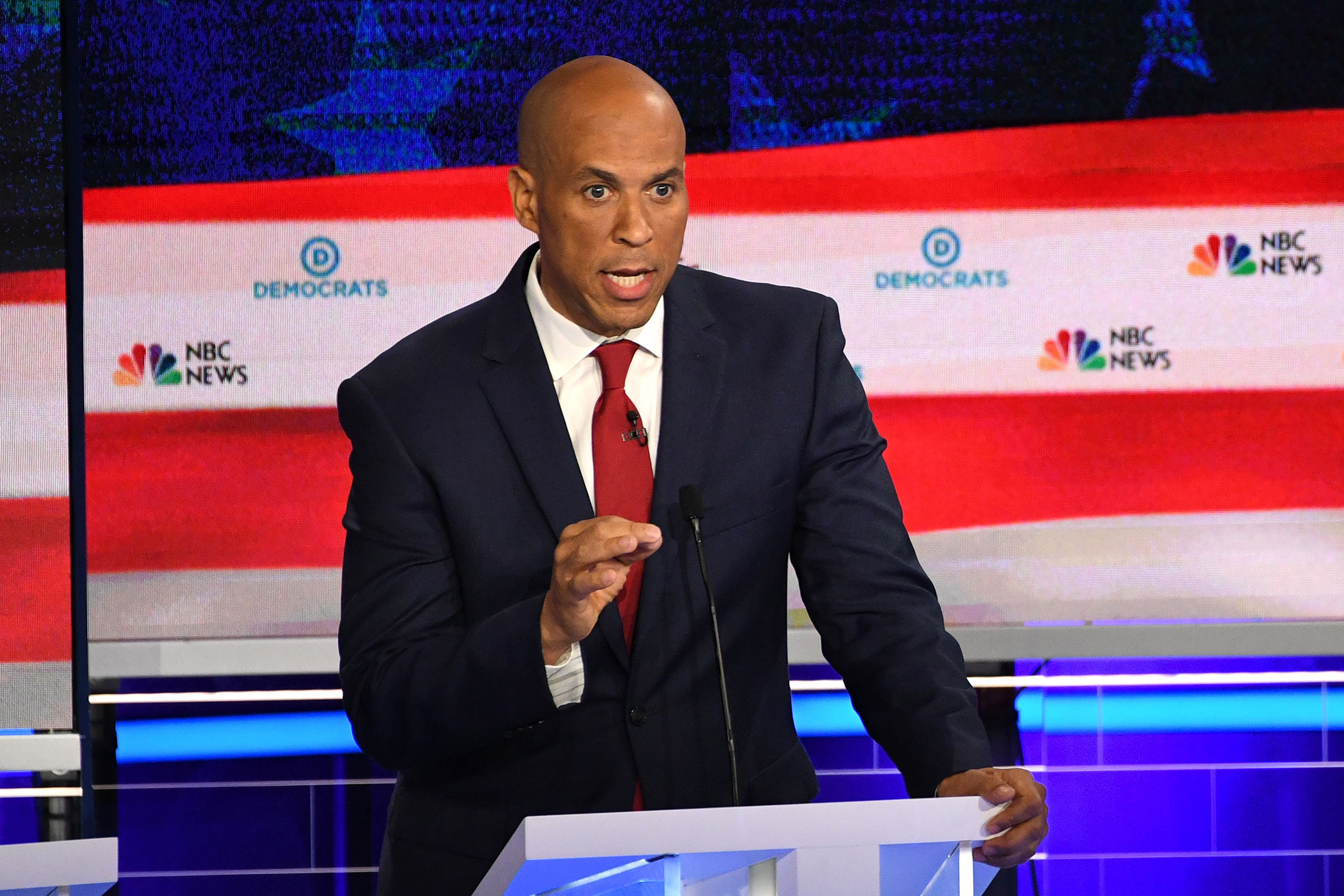 Democratic presidential hopeful US Senator from New Jersey Cory Booker participates in the first Democratic primary debate of the 2020 presidential campaign season hosted by NBC News at the Adrienne Arsht Center for the Performing Arts in Miami, Florida, June 26, 2019.