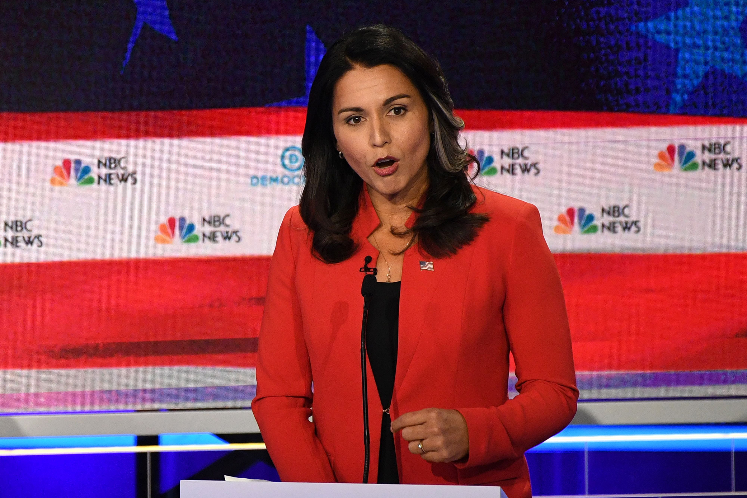 Democratic presidential hopeful US Representative for Hawaii's 2nd congressional district Tulsi Gabbard speaks during the first Democratic primary debate of the 2020 presidential campaign season hosted by NBC News at the Adrienne Arsht Center for the Performing Arts in Miami, Florida, June 26, 2019.