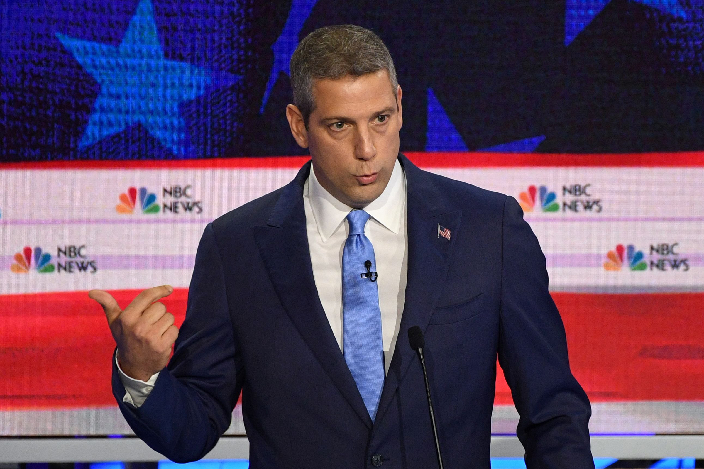 Democratic presidential hopeful US Representative for Ohio's 13th congressional district Tim Ryan speaks during the first Democratic primary debate of the 2020 presidential campaign season hosted by NBC News at the Adrienne Arsht Center for the Performing Arts in Miami, Florida, June 26, 2019.