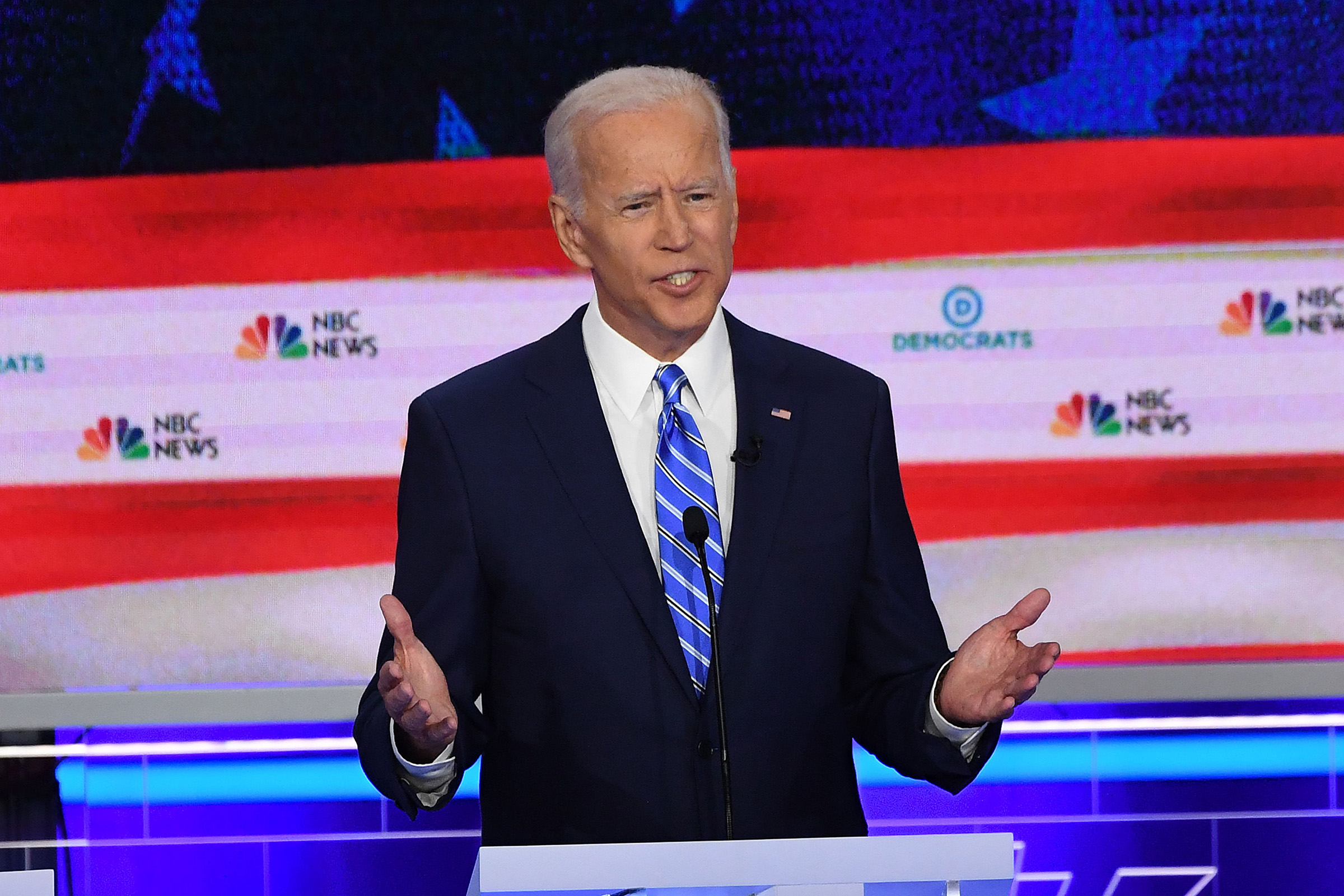 emocratic presidential hopeful former US Vice President Joseph R. Biden speaks during the second Democratic primary debate of the 2020 presidential campaign season hosted by NBC News at the Adrienne Arsht Center for the Performing Arts in Miami, Florida, June 27, 2019.