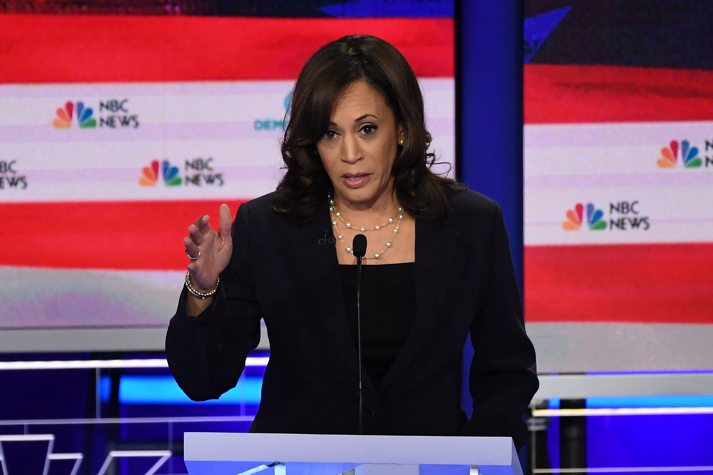 Democratic presidential hopeful US Senator for California Kamala Harris speaks during the second Democratic primary debate of the 2020 presidential campaign season hosted by NBC News at the Adrienne Arsht Center for the Performing Arts in Miami, Florida, June 27, 2019.