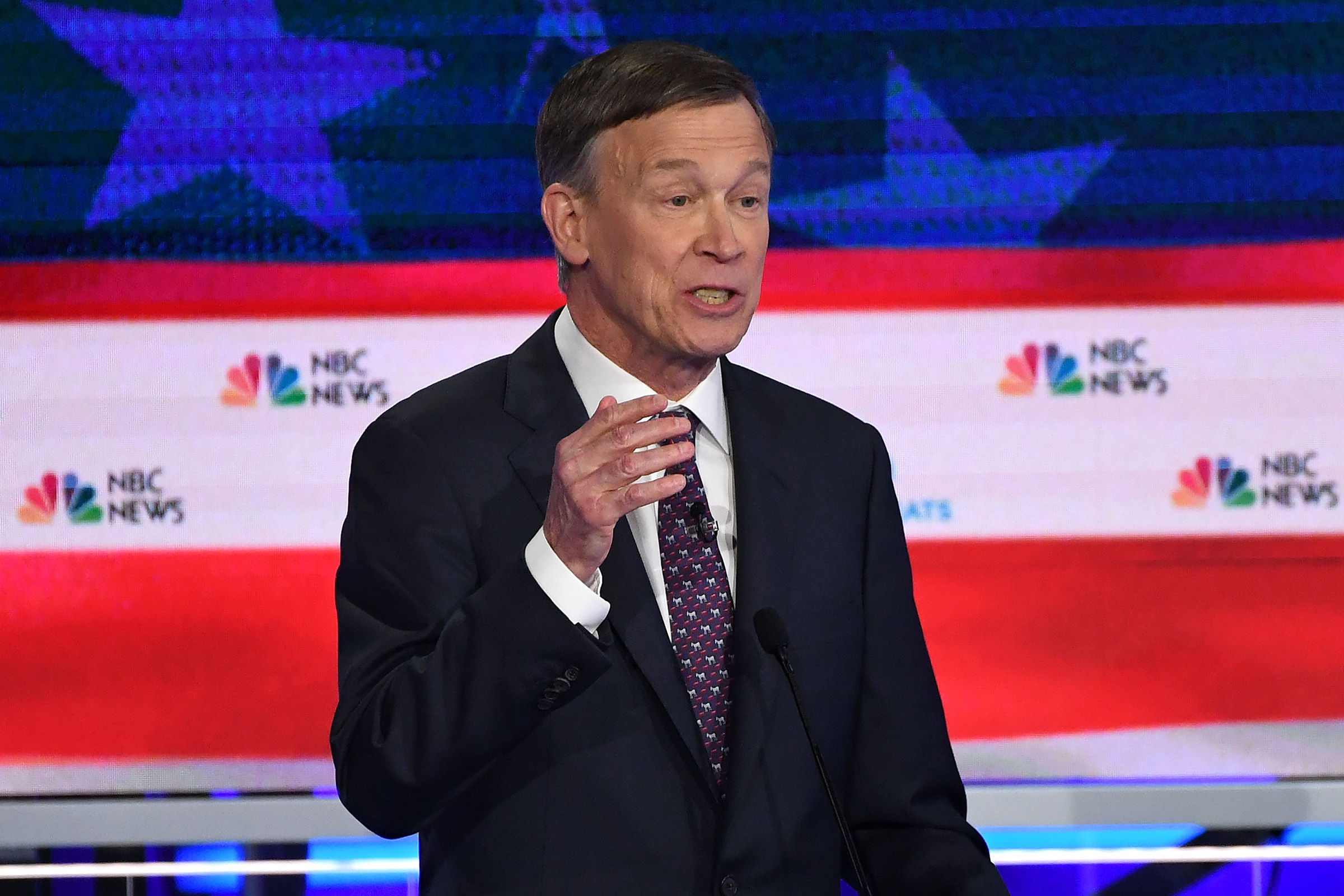 Democratic presidential hopeful former Governor of Colorado John Hickenlooper speaks during the second Democratic primary debate of the 2020 presidential campaign season hosted by NBC News at the Adrienne Arsht Center for the Performing Arts in Miami, Florida, June 27, 2019.