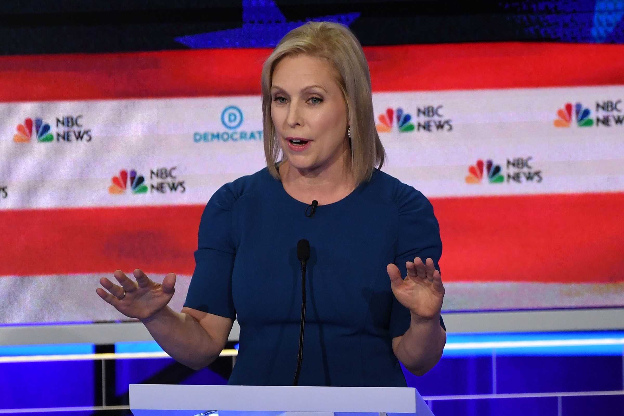 Democratic presidential hopeful US Senator for New York Kirsten Gillibrand speaks during the second Democratic primary debate of the 2020 presidential campaign season hosted by NBC News at the Adrienne Arsht Center for the Performing Arts in Miami, Florida, June 27, 2019.