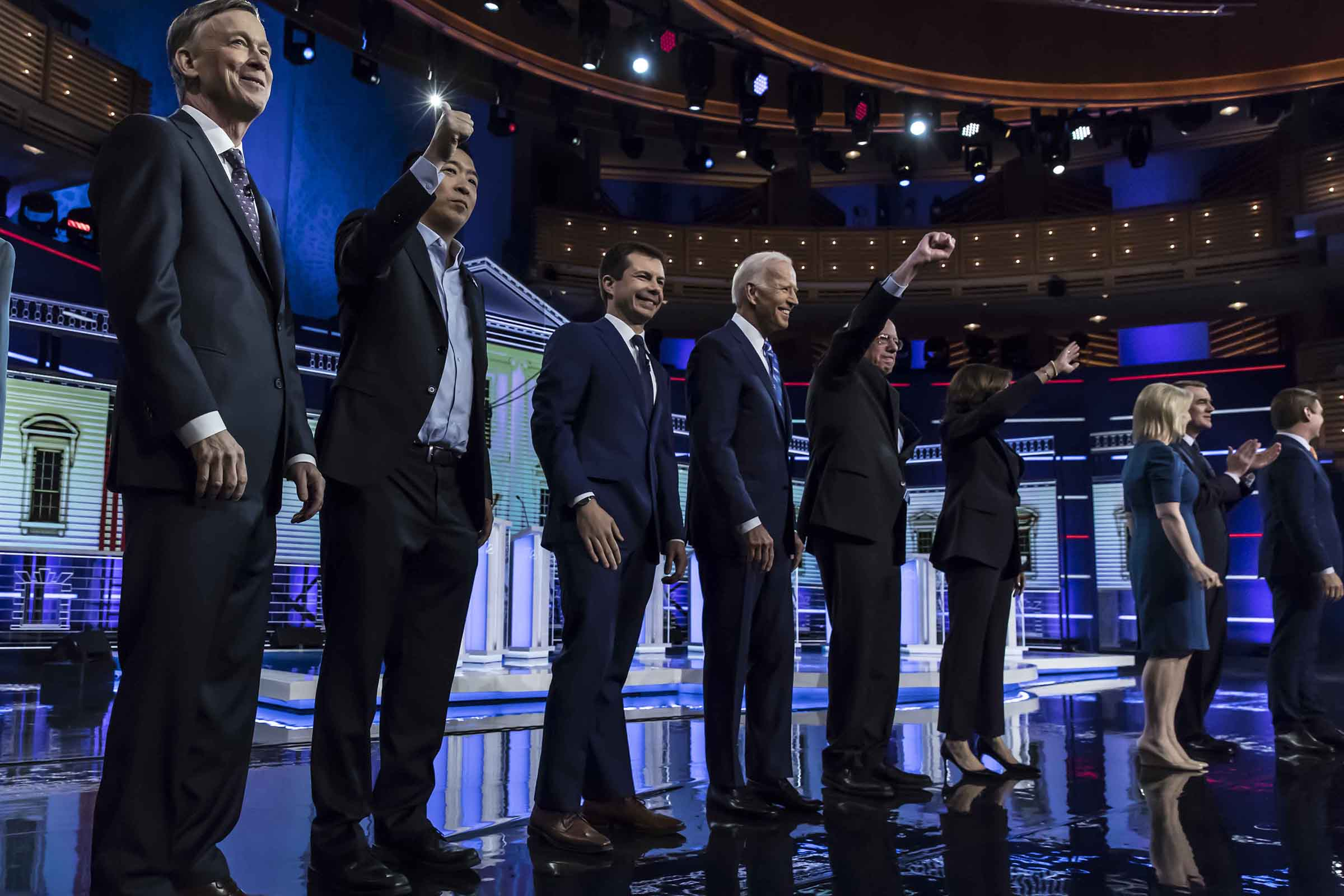 Democratic presidential hopefuls take the stage in the second Democratic primary debate of the 2020 presidential campaign season hosted by NBC News at the Adrienne Arsht Center for the Performing Arts in Miami, Florida, June 27, 2019.