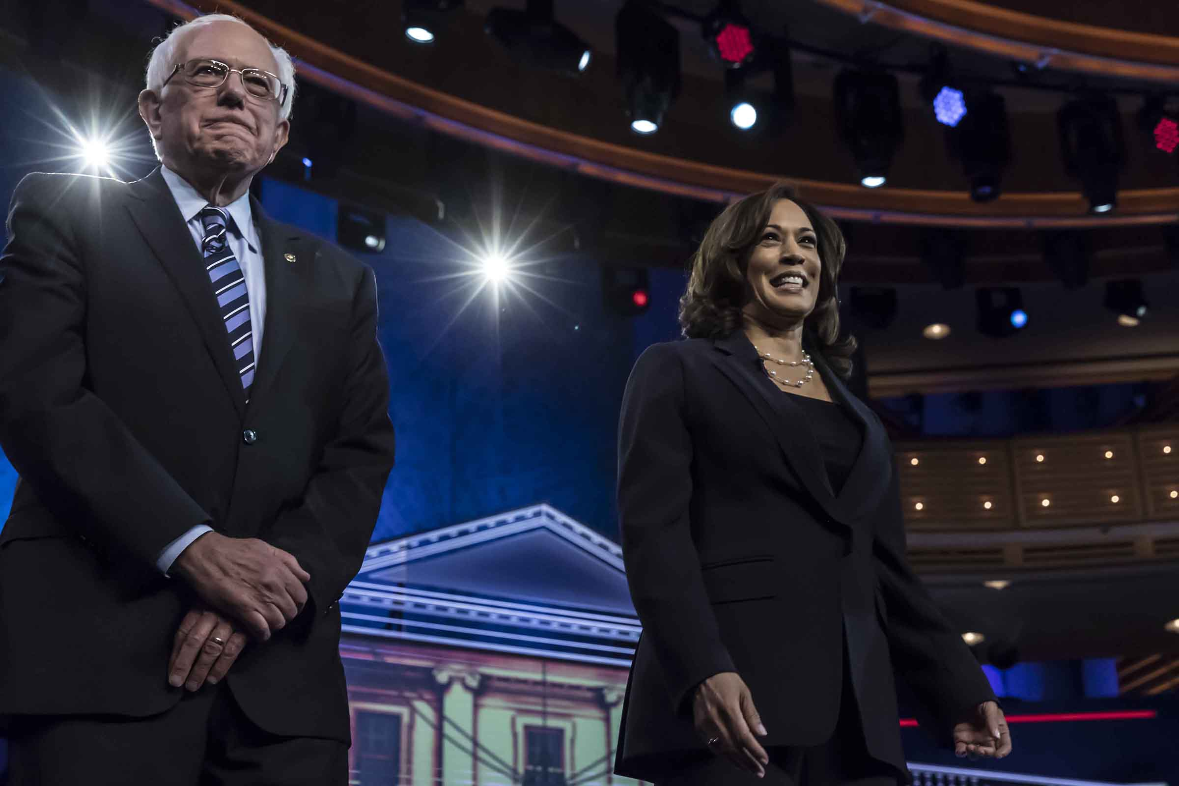 Democratic presidential hopefuls (fromL) US Senator for Vermont Bernie Sanders and US Senator for California Kamala Harris participate in the second Democratic primary debate of the 2020 presidential campaign season hosted by NBC News at the Adrienne Arsht Center for the Performing Arts in Miami, Florida, June 27, 2019.