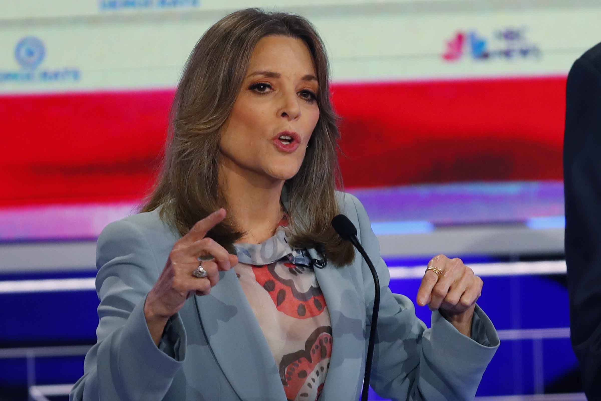 Democratic presidential candidate author Marianne Williamson speaks during the Democratic primary debate hosted by NBC News at the Adrienne Arsht Center for the Performing Arts, Thursday, June 27, 2019, in Miami.