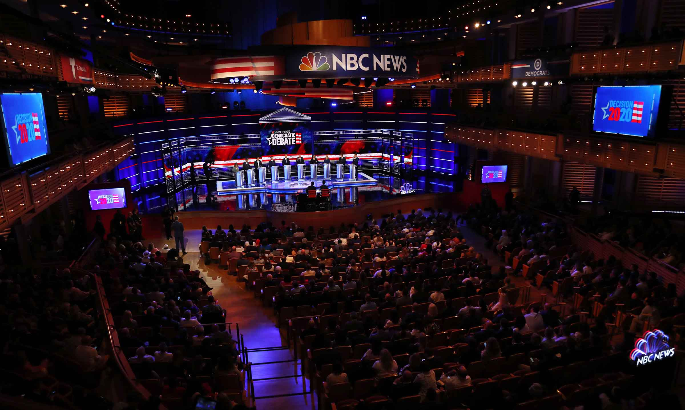 Democratic presidential candidates on stage during a Democratic primary debate hosted by NBC News at the Adrienne Arsht Center for the Performing Arts, Thursday, June 27, 2019, in Miami.