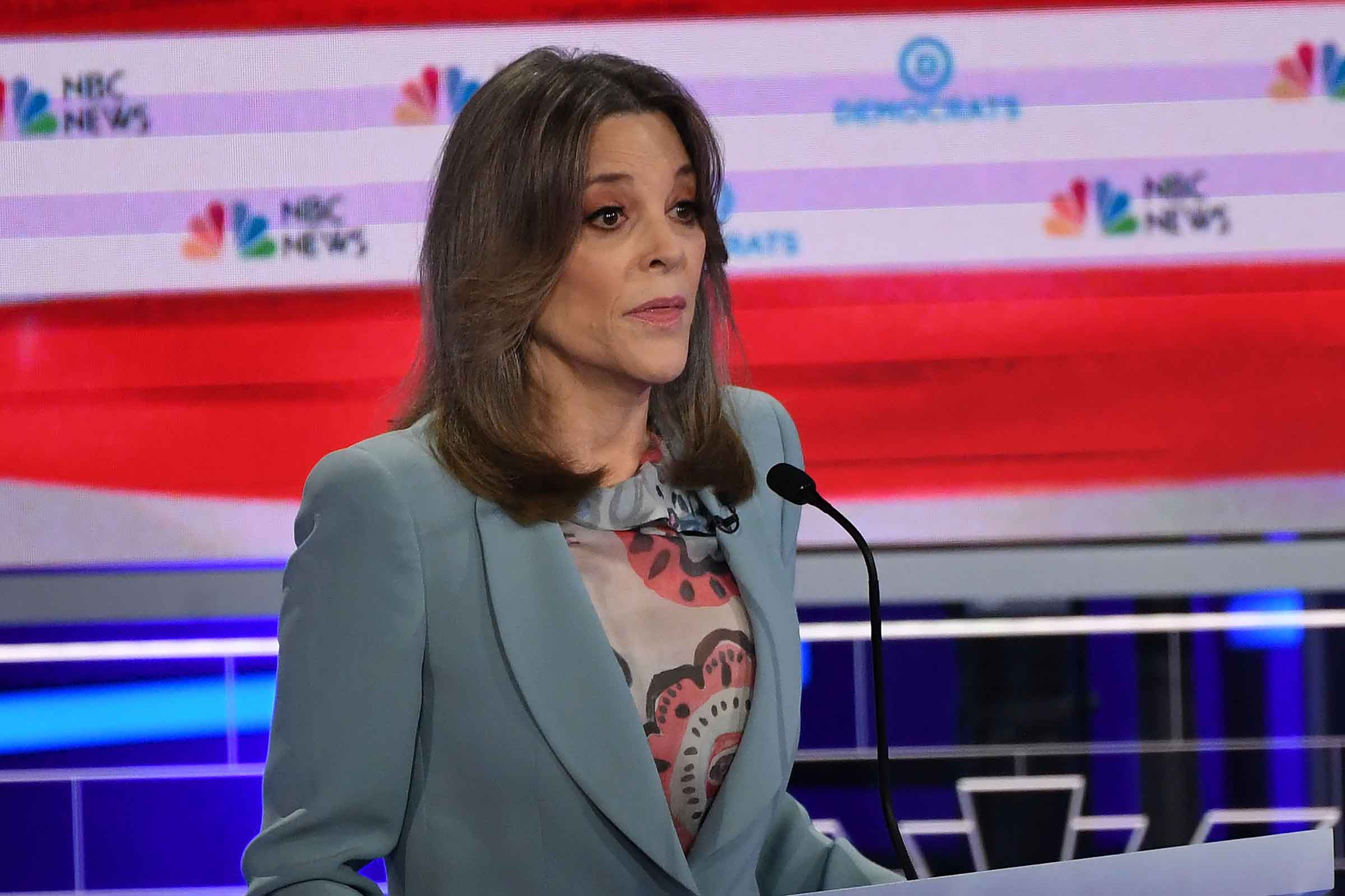 Democratic presidential hopeful US author Marianne Williamson speaks during the second Democratic primary debate of the 2020 presidential campaign season hosted by NBC News at the Adrienne Arsht Center for the Performing Arts in Miami, Florida, June 27, 2019.