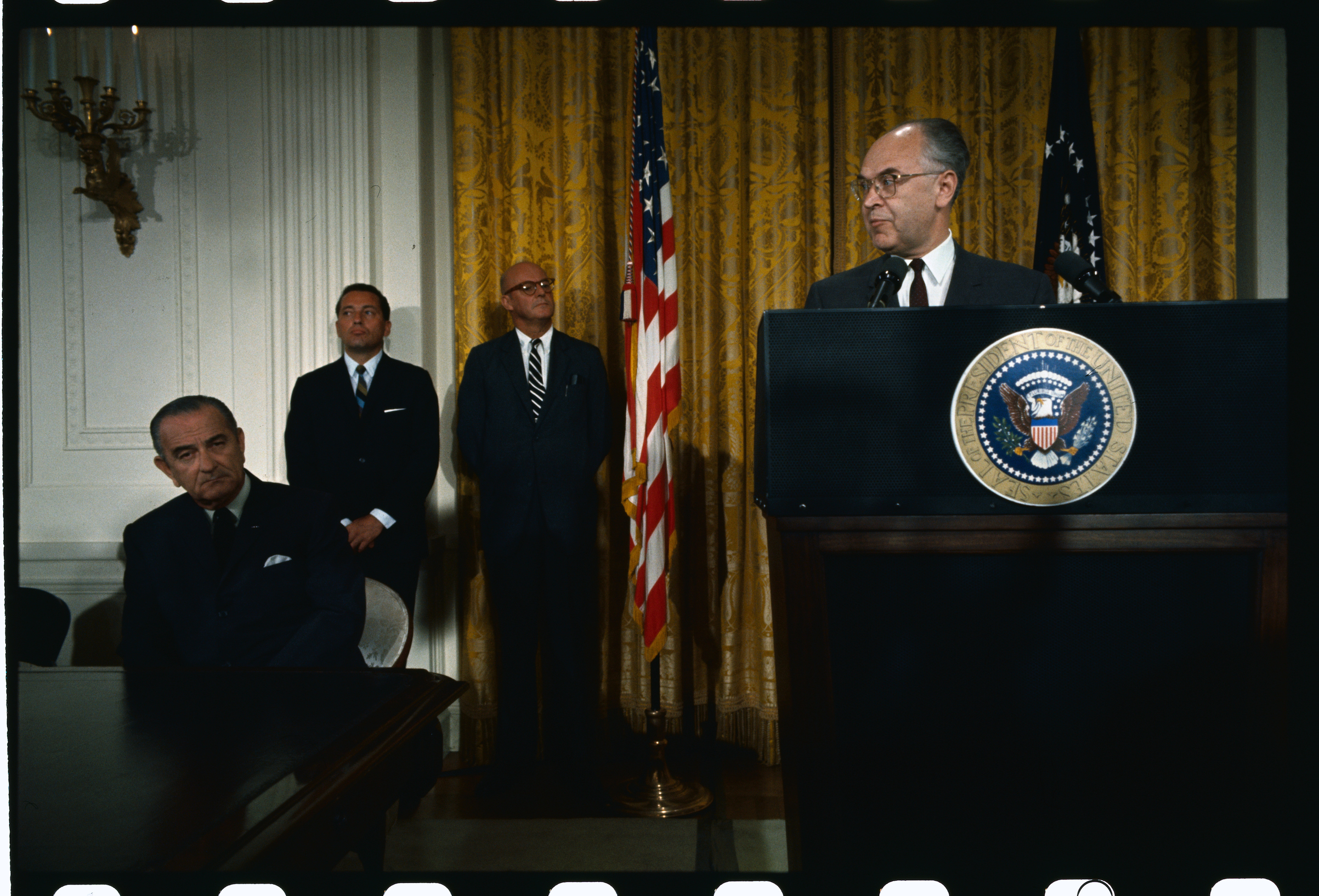 Soviet Ambassador Anatoly Dobrynin, speaking during the signing of the nuclear nonproliferation treaty in the White House, in 1968.