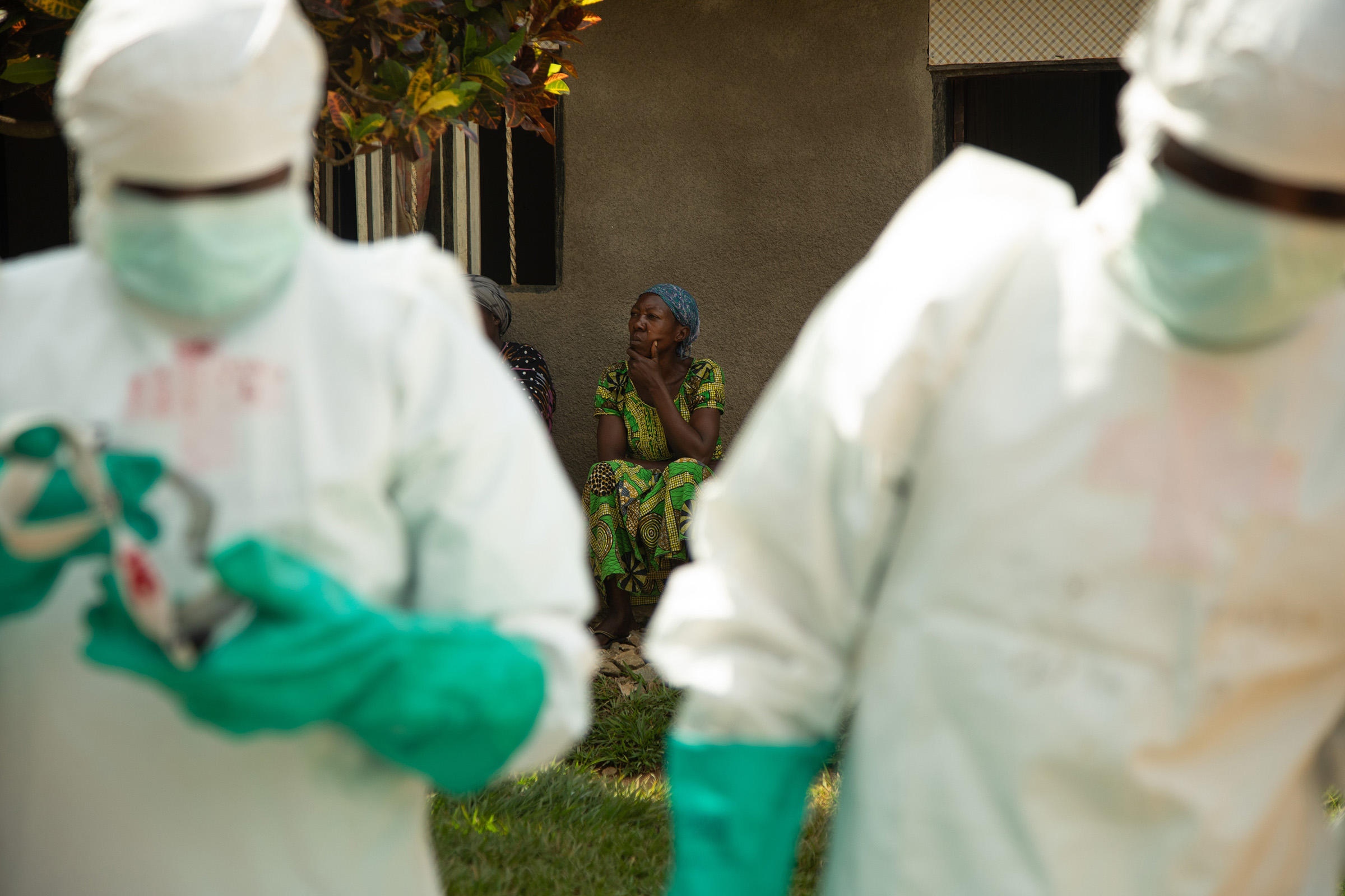 A Red Cross Safe and Dignified Burial team (SDB) responds to an alert from family members who have lost a loved one suspected of having died of ebola, in Beni, The Democratic Republic of the Congo on June 2nd 2019.