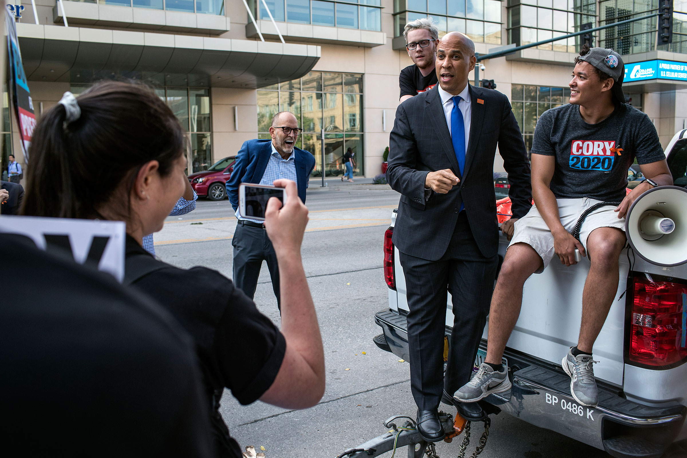 Booker speaks with supporters after the Democratic Hall of Fame event in Cedar Rapids, Iowa on June 9.