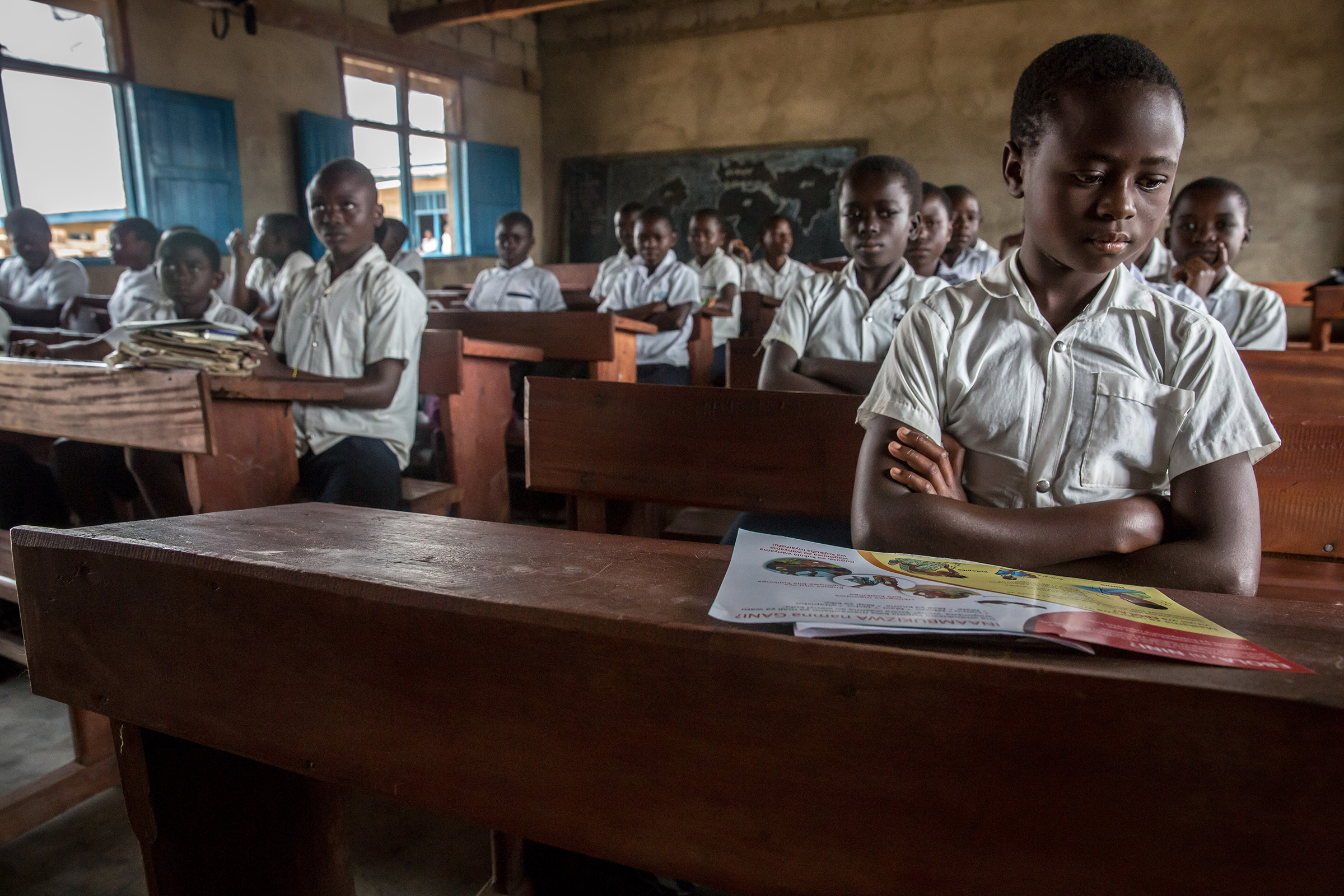 Students are taught about Ebola in a school in Beni, DRC, close to where the outbreak began last August. Heath workers believe by teaching children about the symptoms of Ebola they can educate some parents too.