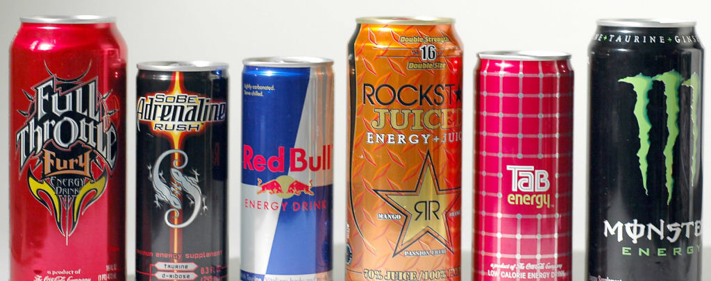 A collection of energy drinks including (left to right) Full Throttle Fury, Sobe Adrenaline Rush, Red Bull, Rockstar Juice, Tab Energy, and Monster Energy, in Boston, Massachusetts, on May 30, 2006.