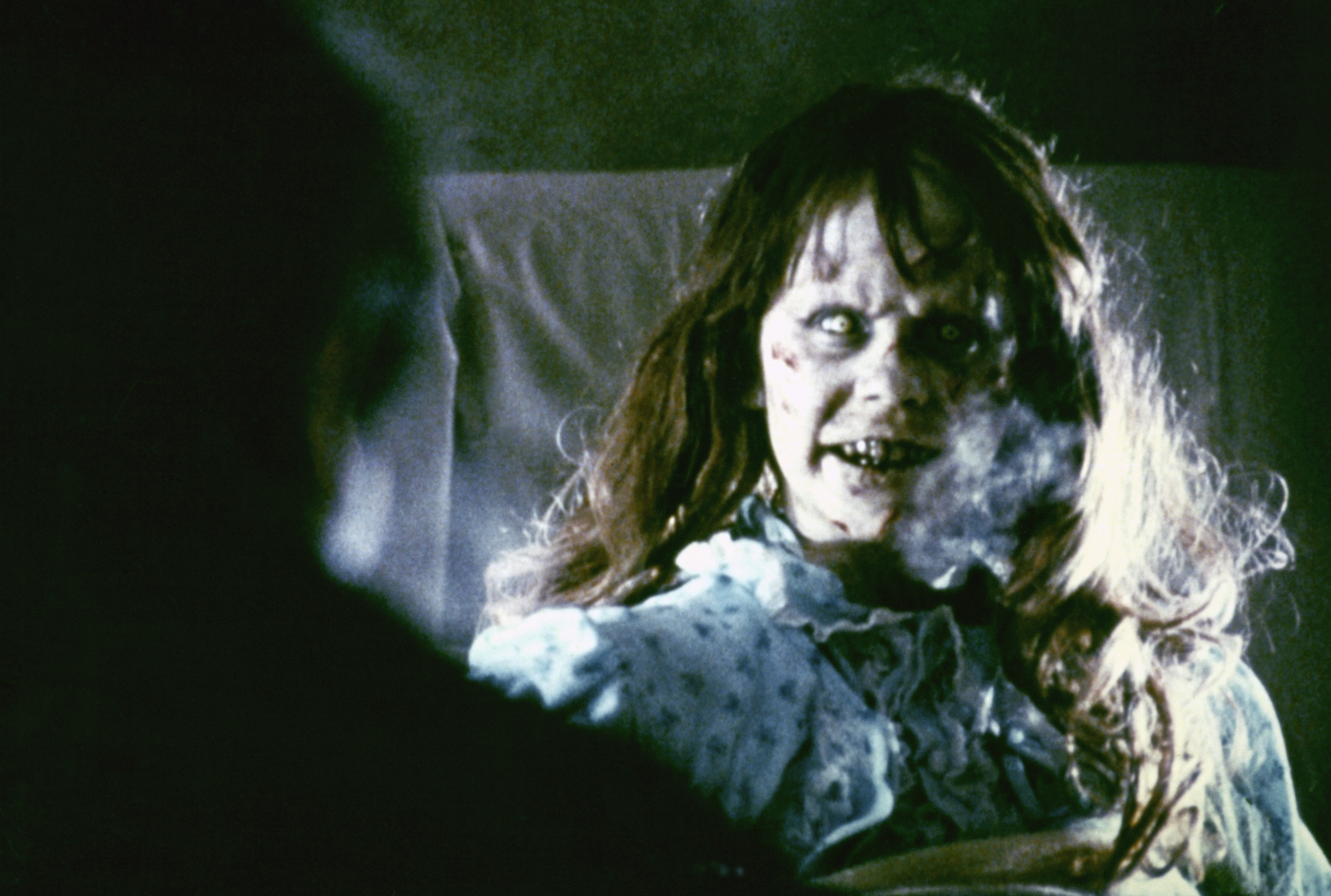 American actress Linda Blair on the set of The Exorcist