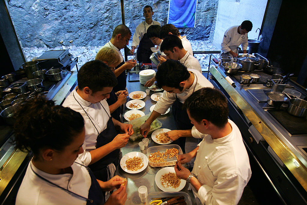 Kitchen assistant's of Spanish cook Ferran Adria are seen working in the kitchen of restaurant  El Bulli  on June 16, 2007  in Roses, Spain. El Bulli restaurant has been scored as the world's best restaurant in the World's 50 Best Restaurants 2009,. For the fourth year in a row Ferran Adria topped the list.