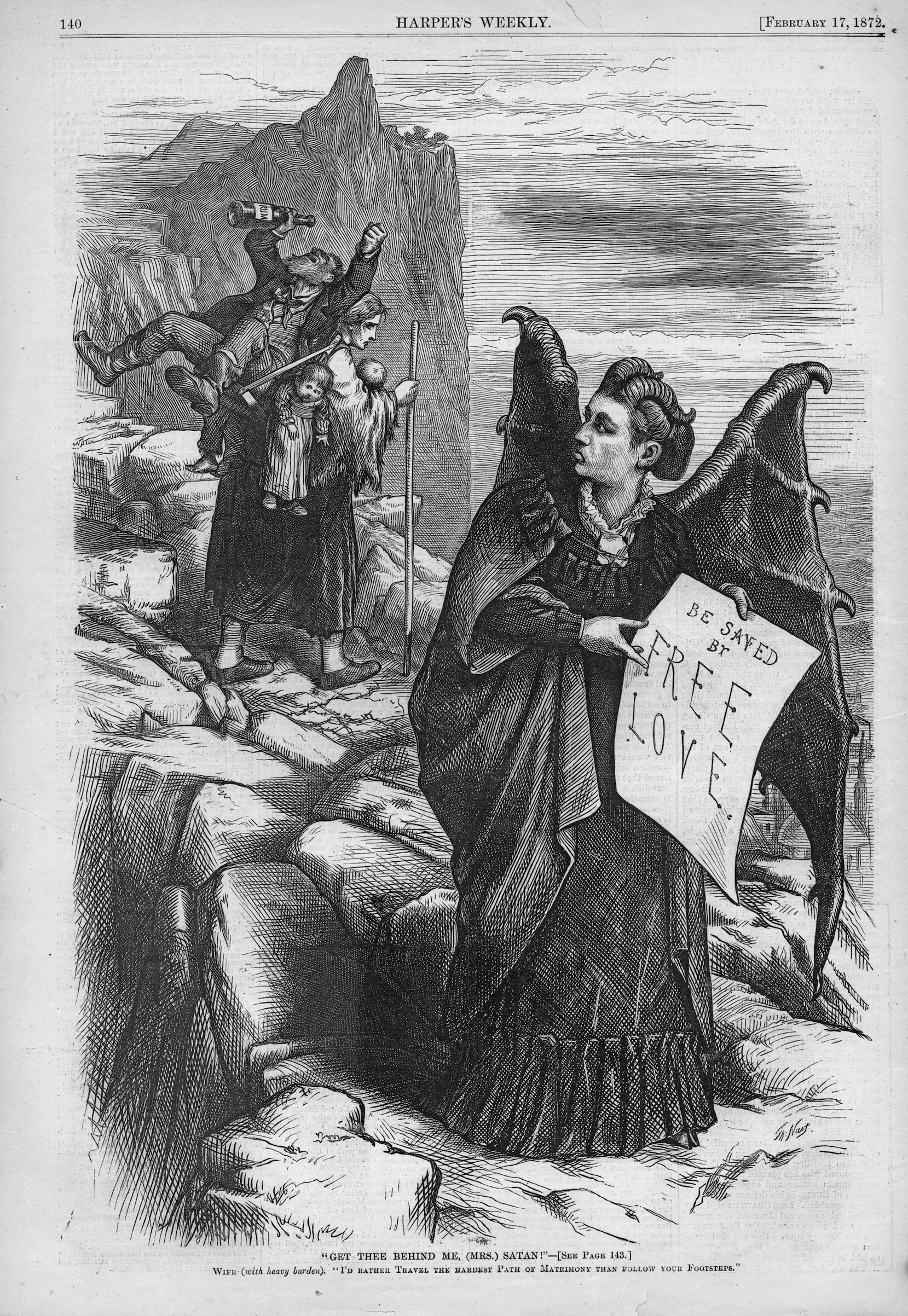 Print depicting suffragist Victoria Woodhull as a winged 'Mrs Satan, illustrated by Thomas Nast, and published in Harper's Weekly for the American market, 1872.