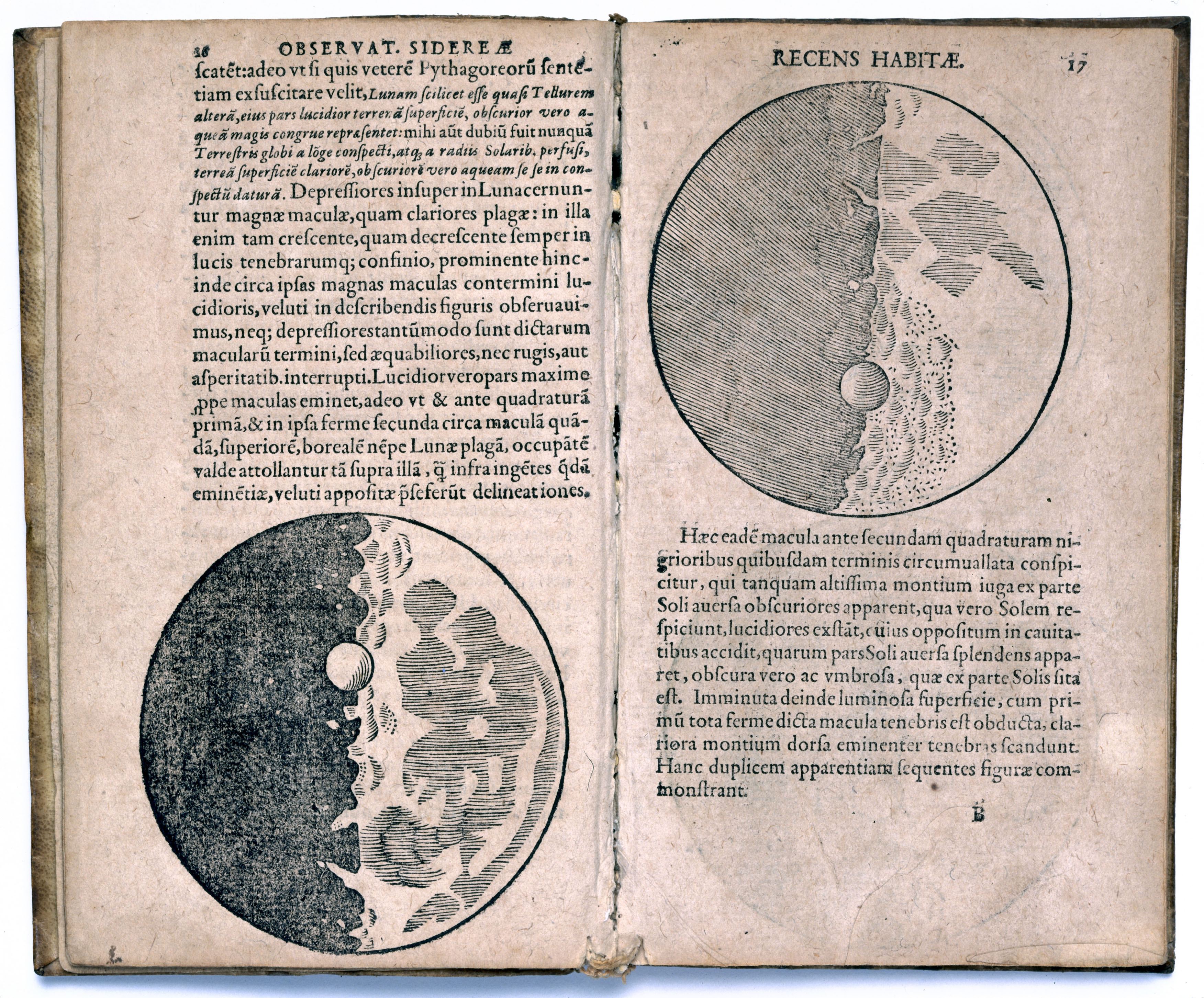 Pages from 'Sidereus, nuncius magna' (known as 'The Starry Messenger', Venice, 1610) by Galileo Galilei (1564-1642), a book of astronomical theory and observations. Galileo was an Italian astronomer and physicist and outstanding representative of the movement which transformed medieval natural philosophy into modern science.