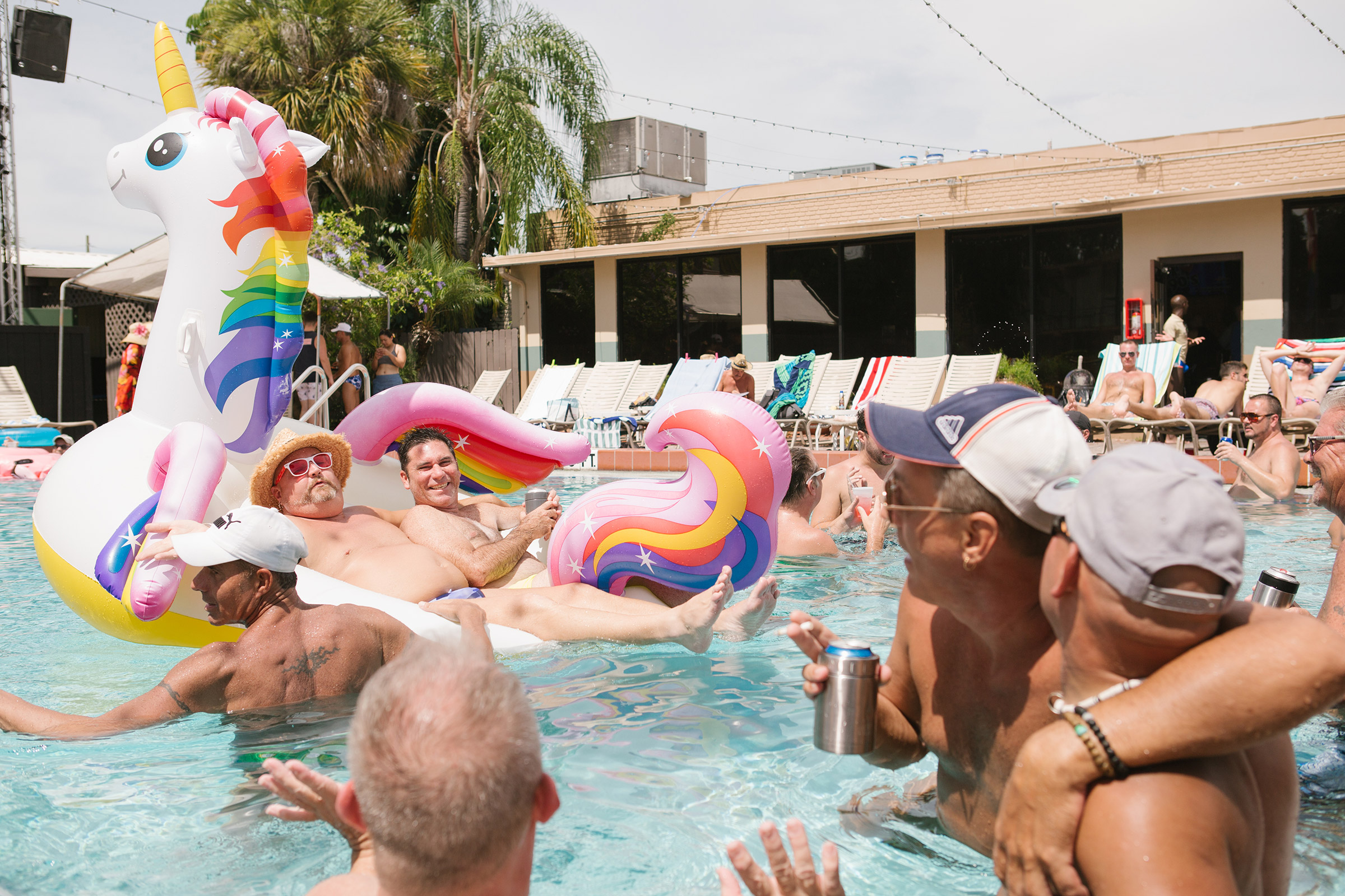 Allen, second from right, and others at a pool party at Parliament House, Orlando's iconic 44-year-old LGBTQ resort that includes several bars, hotel rooms, nightclub and restaurant, on June 22.