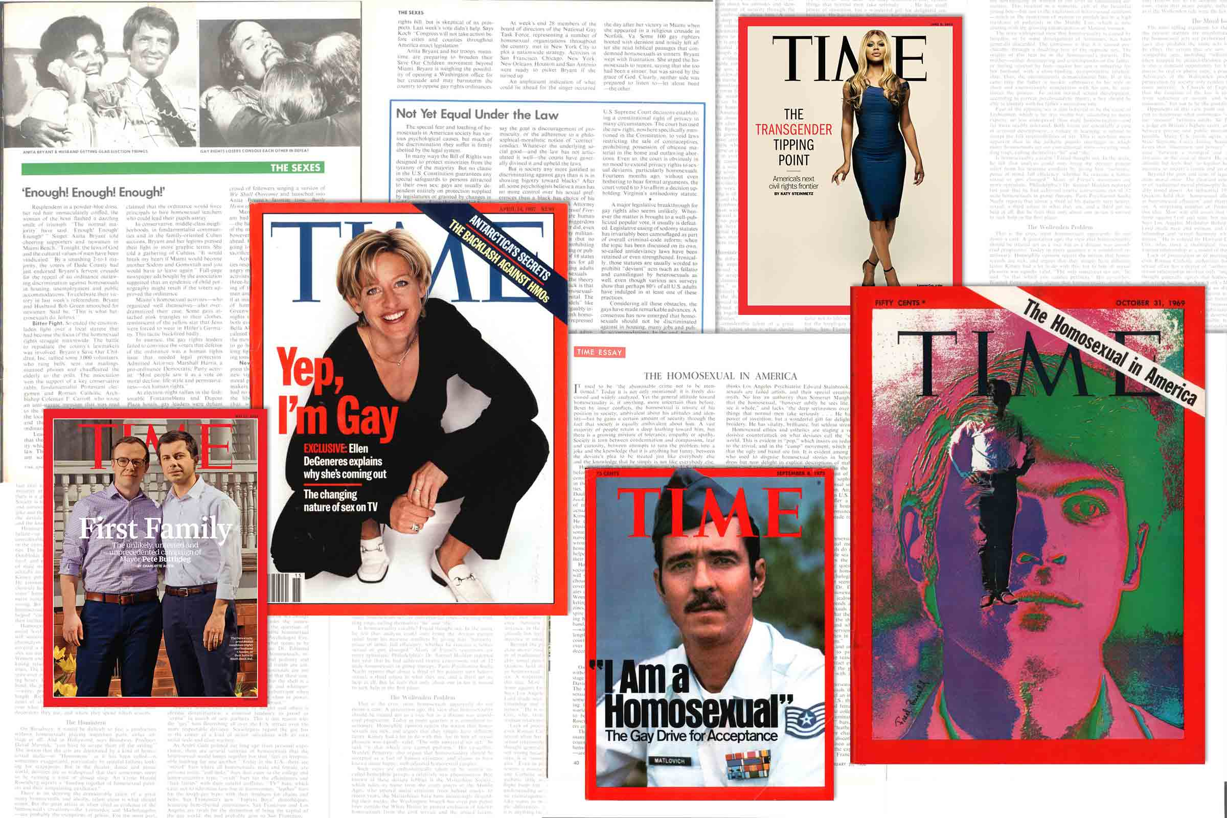 LGBTQ issues on the cover of TIME in (L-R) 2019, 1997, 1975, 2014 and 1969