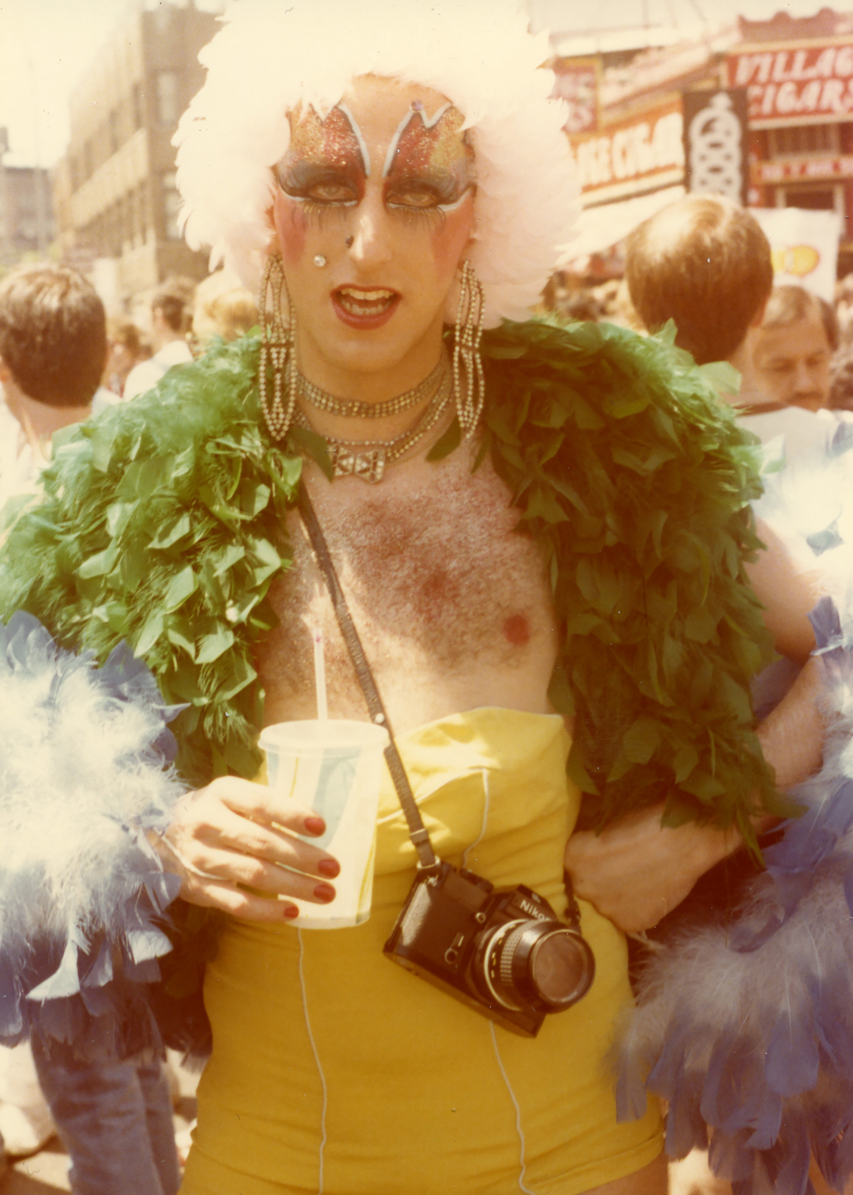 A drag performer at Pride Parade in 1976