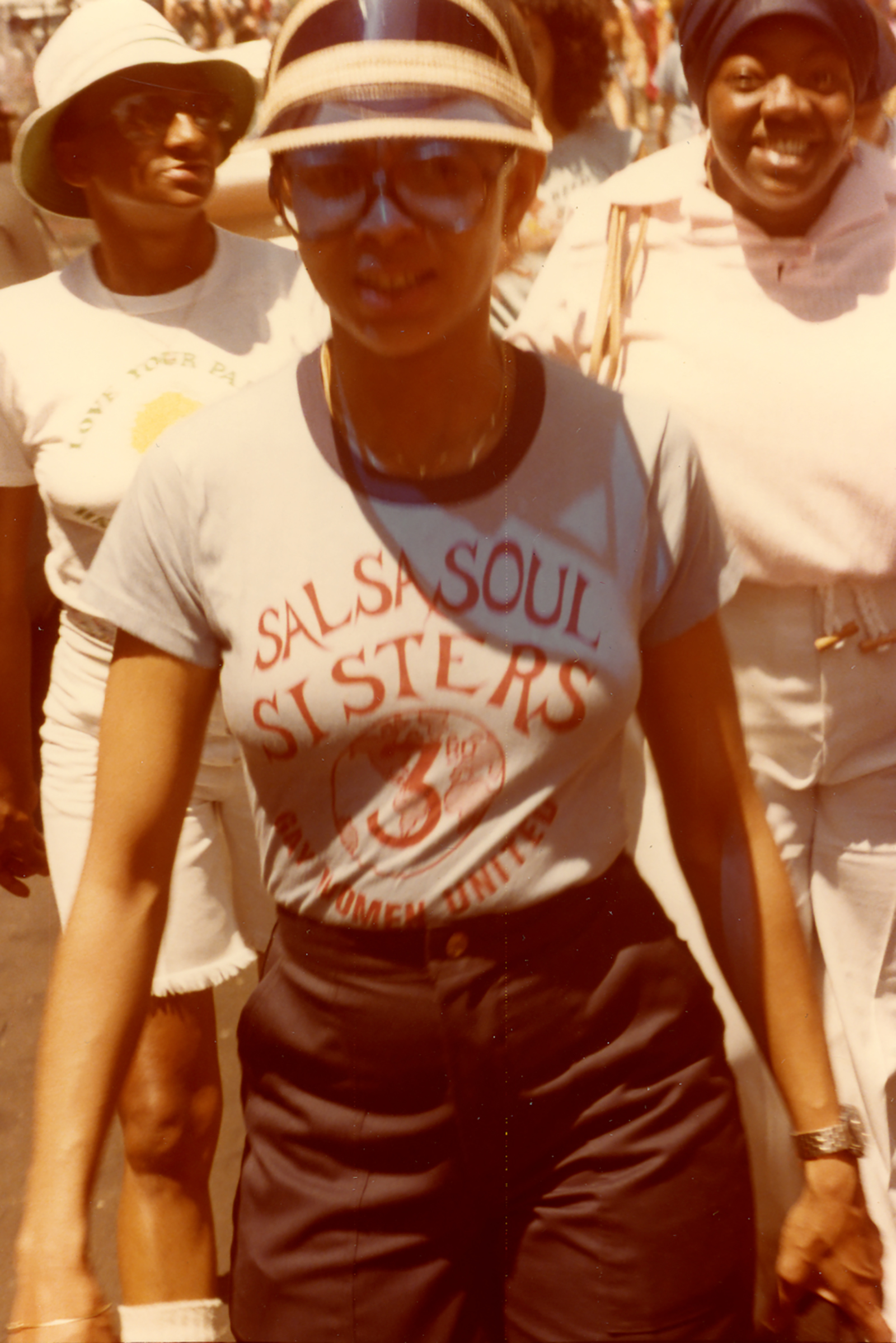 A woman part of the Salsa Soul Sisters at Pride Parade in 1977