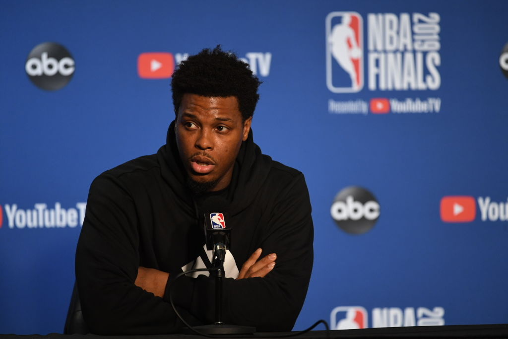 Kyle Lowry of the Toronto Raptors addresses the media during the 2019 NBA Finals in Oakland, Calif. on June 6, 2019.