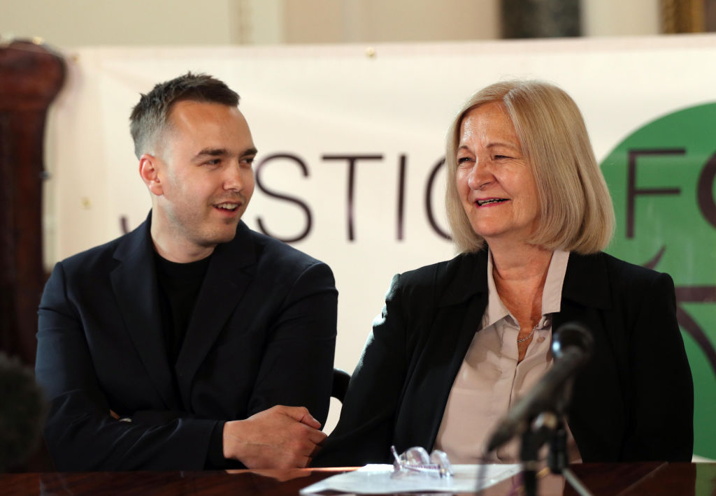 Sally Challen with her son David, during a press conference in central London after she left the Old Bailey where she was told that she will not face a retrial over the death of her husband Richard Challen in 2010.