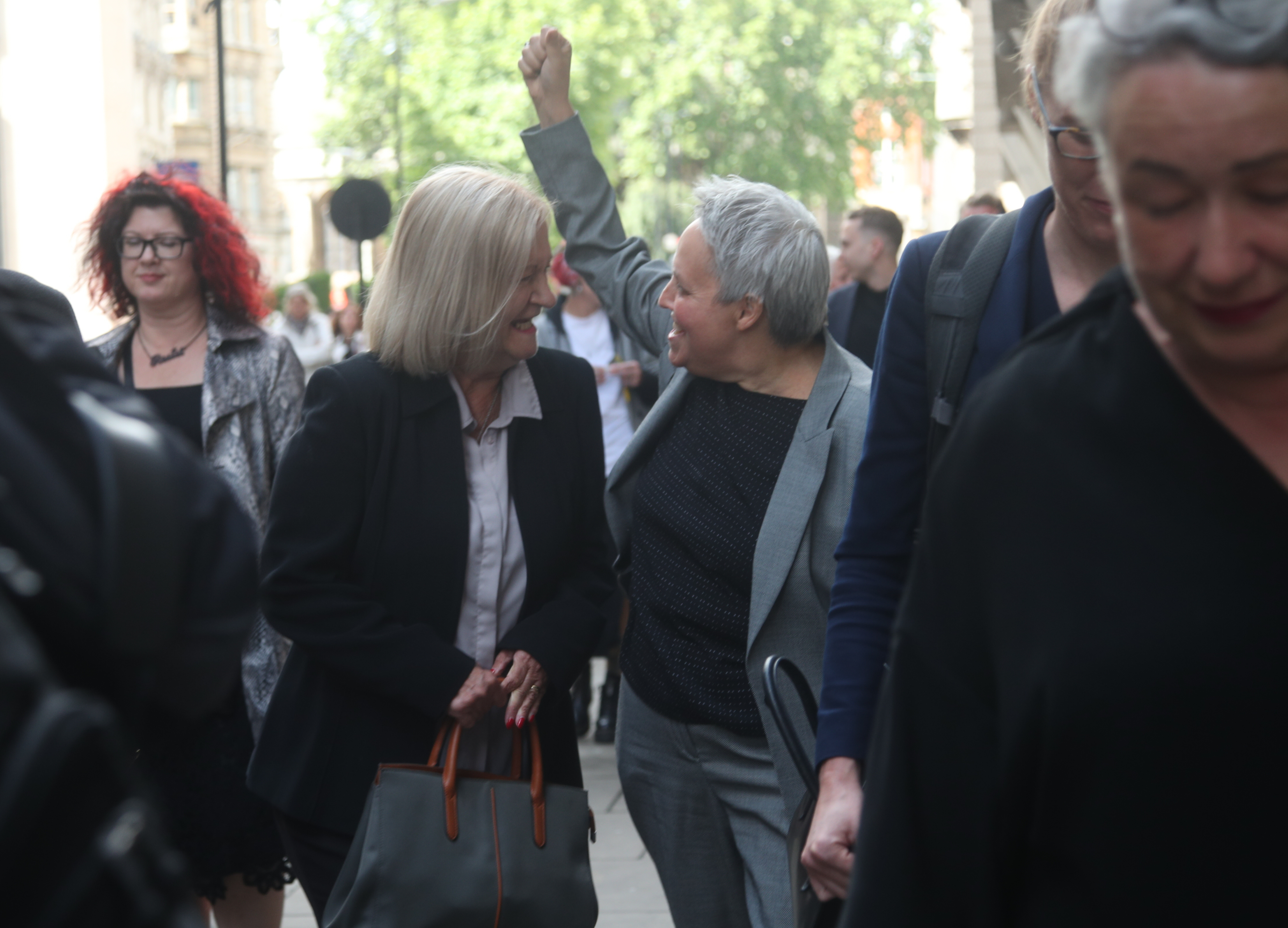 Sally Challen, with lawyer Harriet Wistrich, leaving the Old Bailey after hearing she will not face a retrial over the death of her husband Richard Challen in 2010.