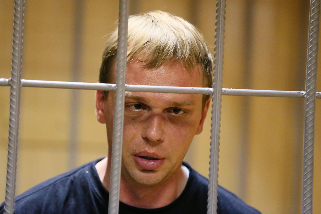 Ivan Golunov, investigative journalist from the news site Meduza, attends an arrest warrant hearing on June 8 in Moscow