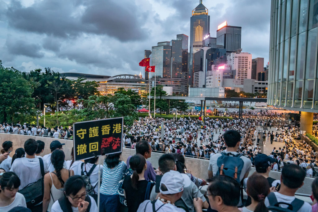 Protesters gather at Central Government Complex after a rally against a controversial extradition law proposal on June 9, 2019 in Hong Kong.