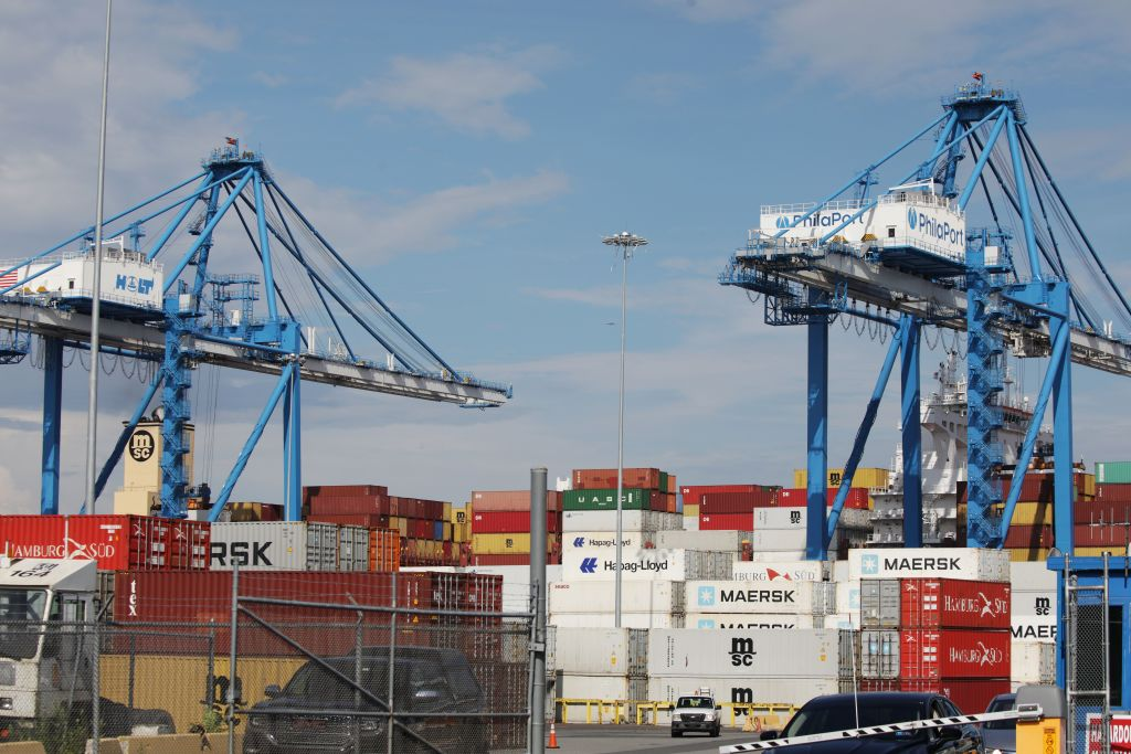 Cranes unload the freight ship MSC Gayane, after US authorities seized more than 16 tons of cocaine at the Packer Marine Terminal in Philadelphia, Pennsylvania on June 18, 2019.
