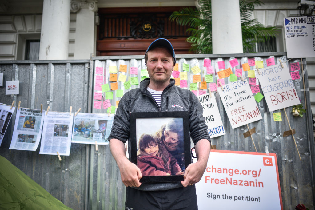 Richard Ratcliffe holds a protest outside the Iranian embassy on June 20, 2019 in London, England.