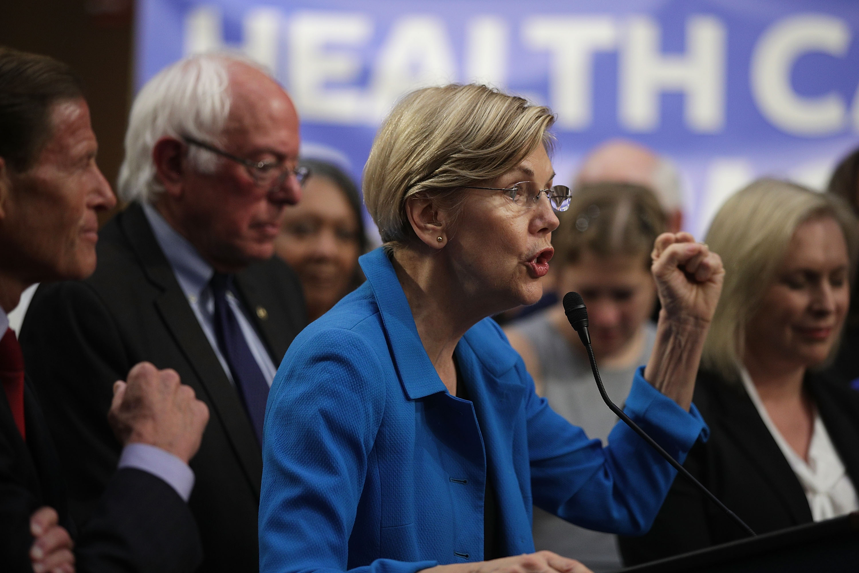 U.S. Sen. Elizabeth Warren (D-MA) (C) speaks on health care as Sen. Bernie Sanders (I-VT) (2nd L) listens during an event September 13, 2017 on Capitol Hill in Washington, DC