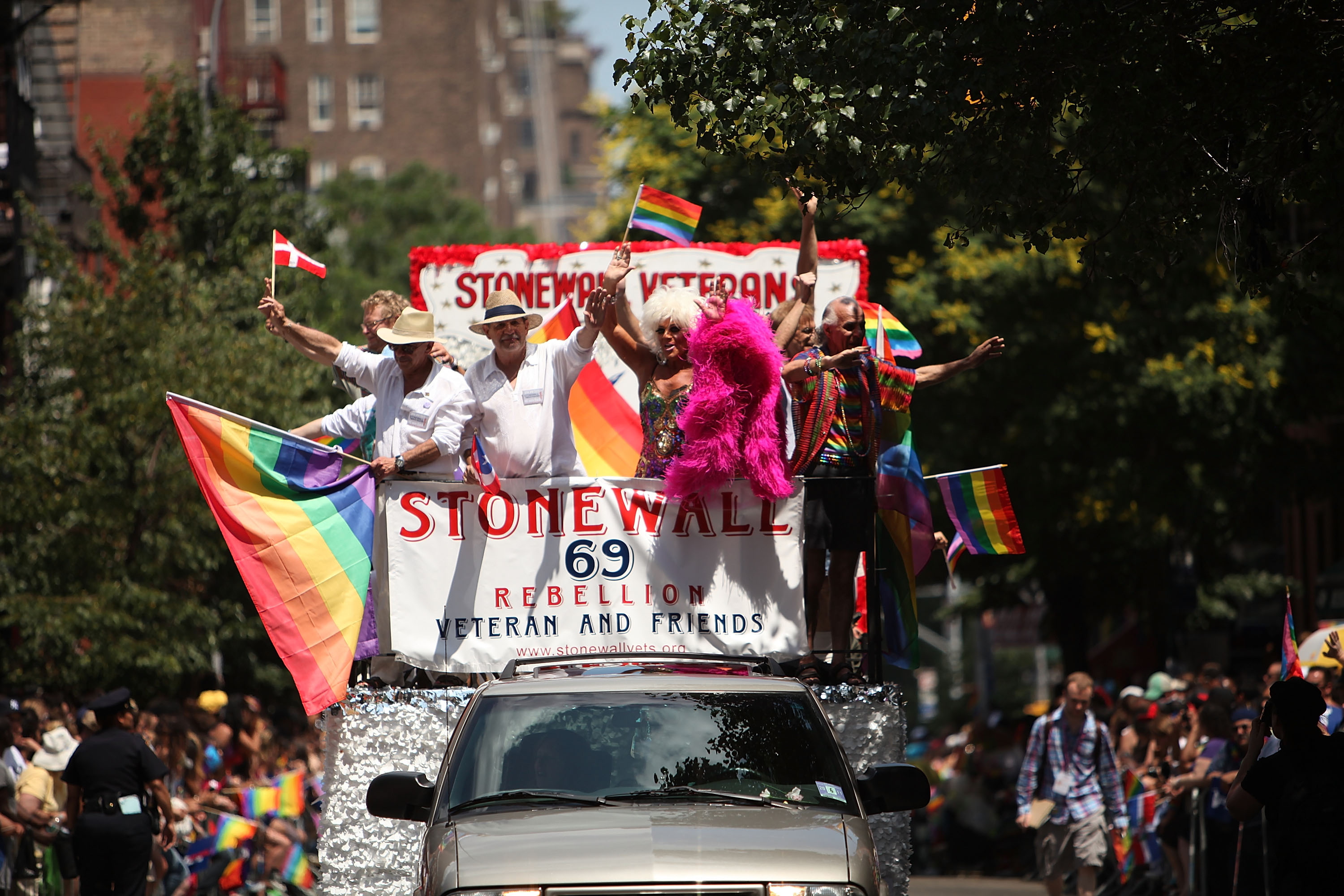 A float commemorates the 40th anniversary of the Stonewall riots, which erupted after a police raid on a gay bar, the Stonewall Inn on Christopher St., in 1969.