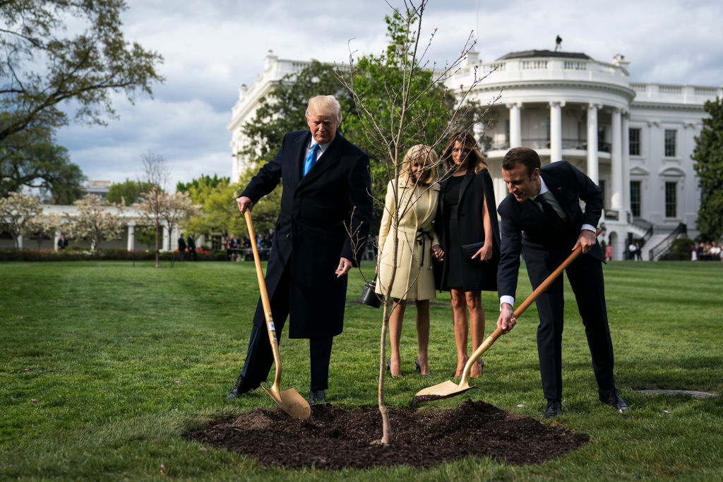 President Donald Trump and French President Emmanuel Macron plant the symbolic tree at the White House while Melania Trump and Brigitte Macron watch  on Monday, April 23, 2018 in Washington, DC.