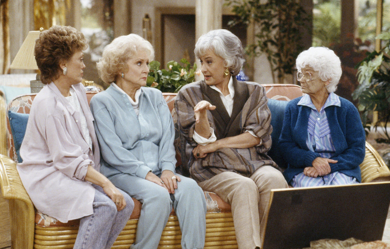 . Rue McClanahan as Blanche Devereaux, Betty White as Rose Nylund, Bea Arthur as Dorothy Petrillo Zbornak, Estelle Getty as Sophia Petrillo