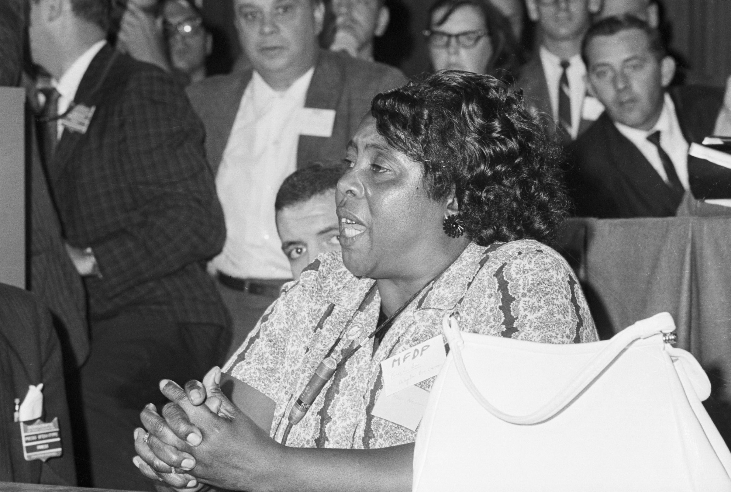 Mississippi Freedom Democratic Party delegate Fannie Lou Hamer speaks out for the meeting of her delegates at a credential meeting prior to the formal meeting of the Democratic National Convention.