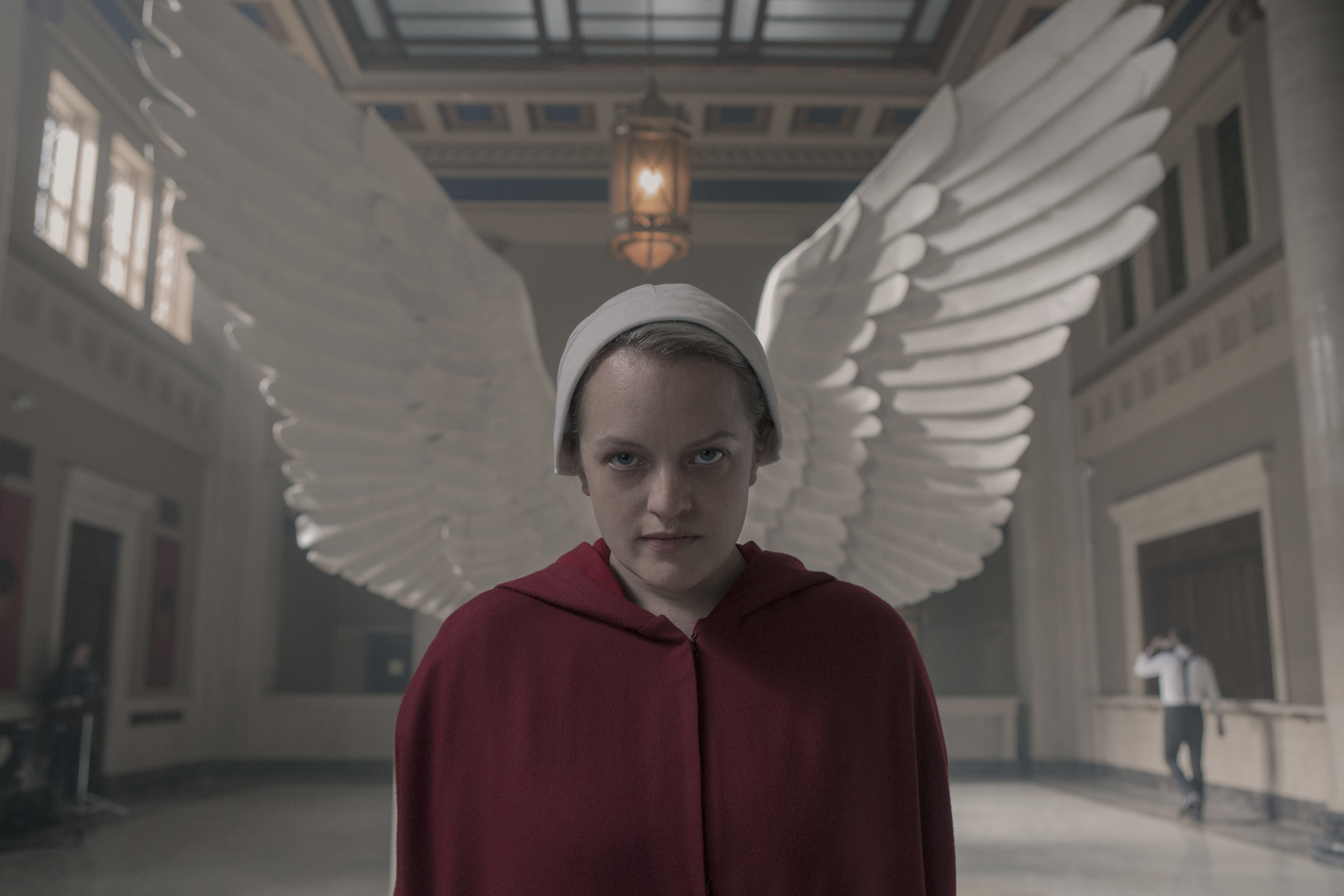 The Handmaid's Tale --  Household  - Episode 306 -- June accompanies the Waterfords to Washington D.C., where a powerful family offers a glimpse of the future of Gilead. June makes an important connection as she attempts to protect Nichole. June (Elisabeth Moss), shown.