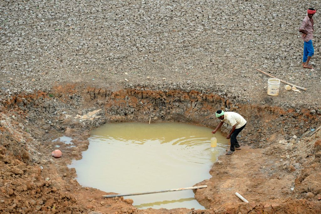 Indian workers collect water from the Puzhal reservoir on the outskirts of Chennai on June 20, 2019. - Water levels in the four main reservoirs in Chennai have fallen to one of its lowest levels in 70 years, according to local media reports.
