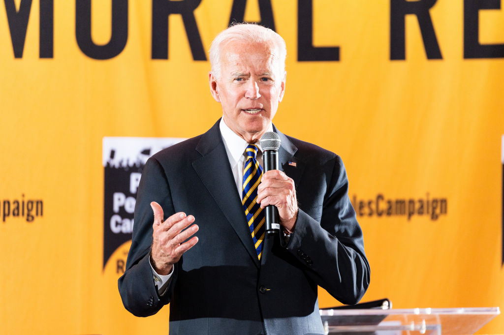 Former Vice President Joe Biden (D) speaking at the Poor Peoples Moral Action Congress taking place at Trinity Washington University in Washington, DC on June 17, 2019.