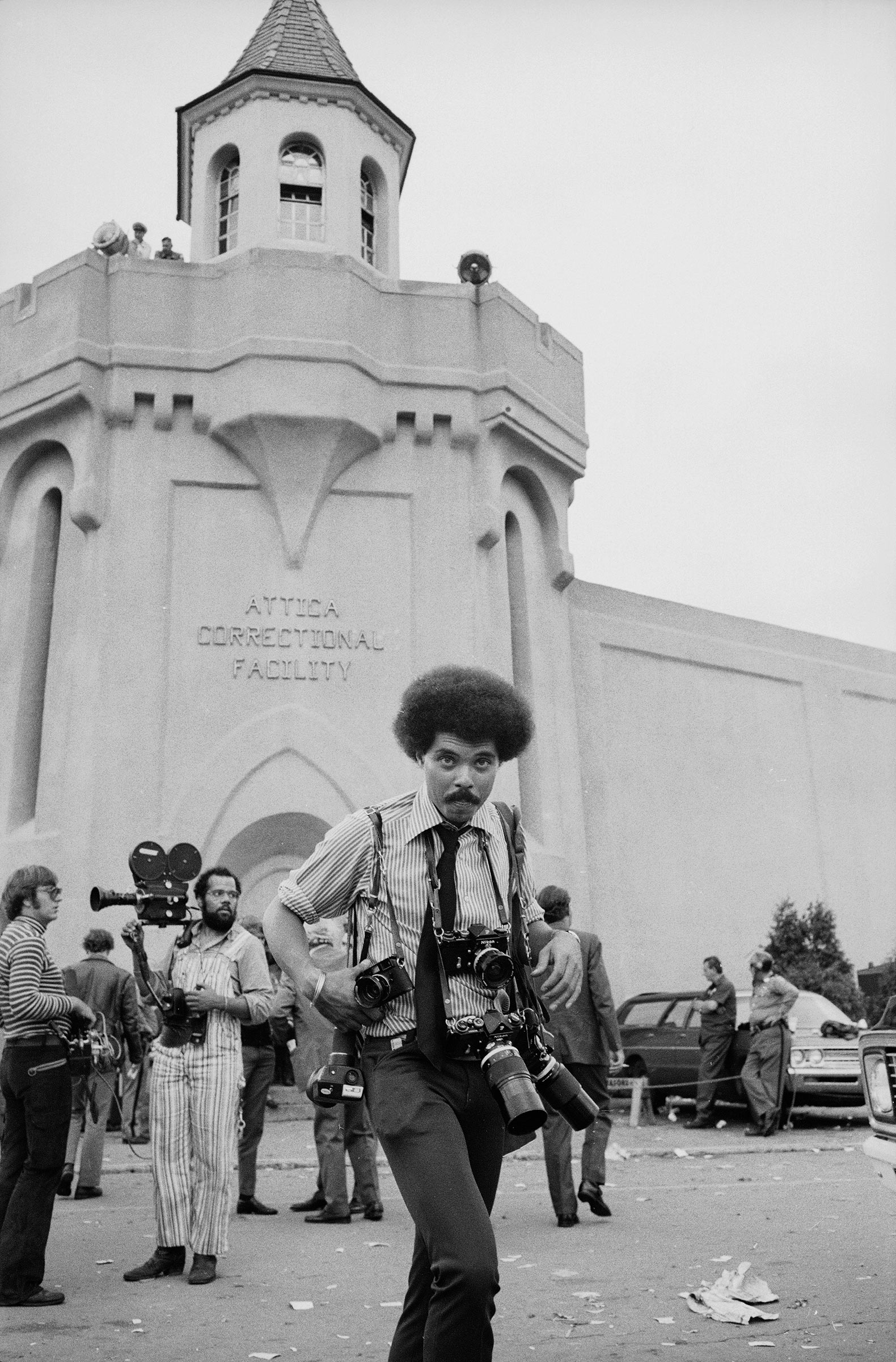 John Shearer on assignment during a prisoner riot and uprising at Attica prison in 1971.