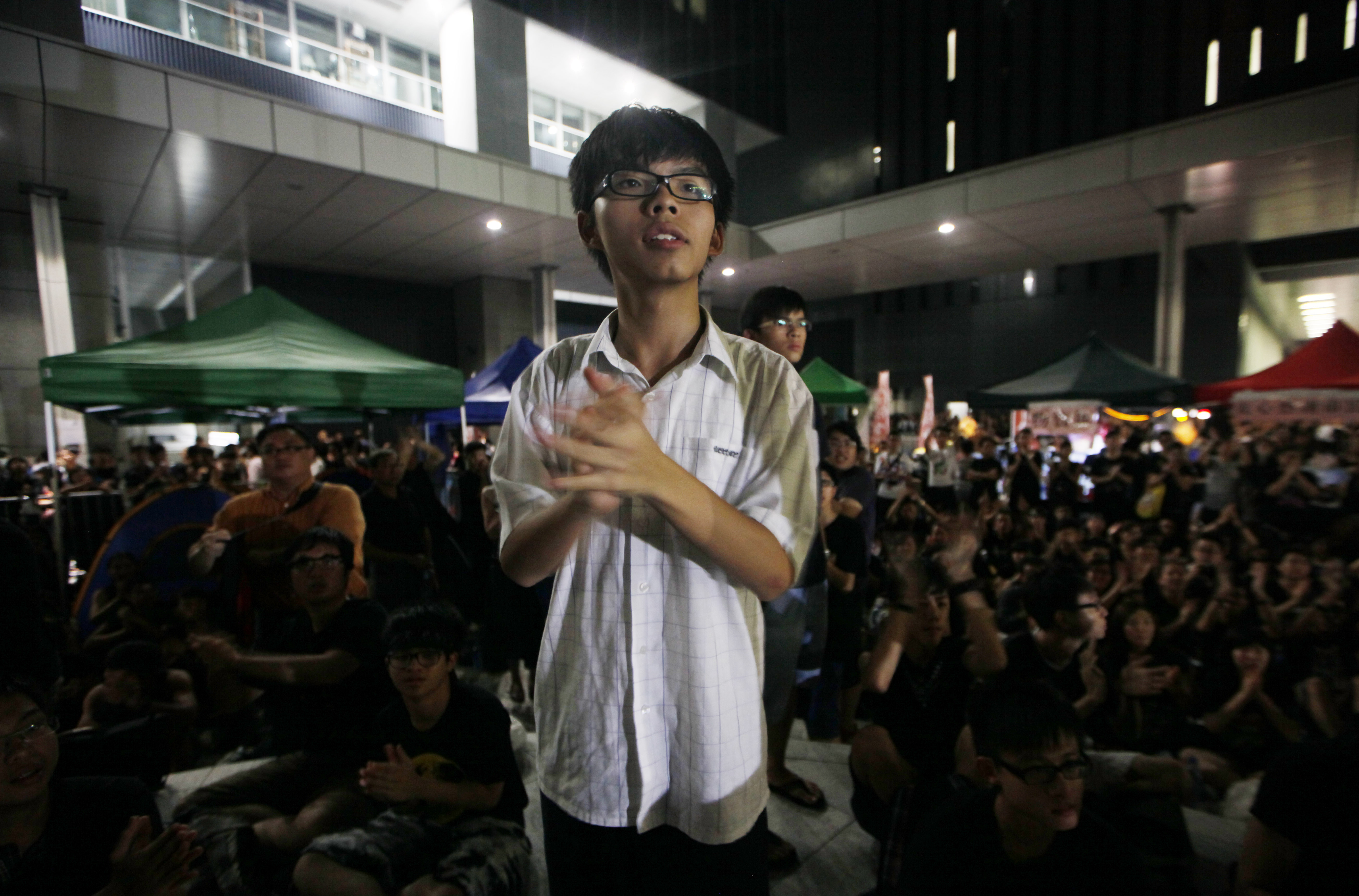 Convener of the students group  Scholarism  Joshua Wong attends a sit-in protest outside the government headquarters in Hong Kong on Sept. 5, 2012.